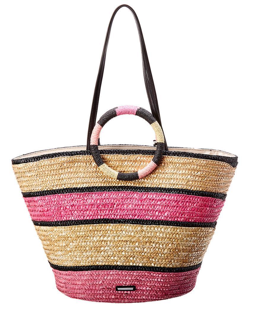 Rebecca Minkoff Straw Tote Bag in Pink