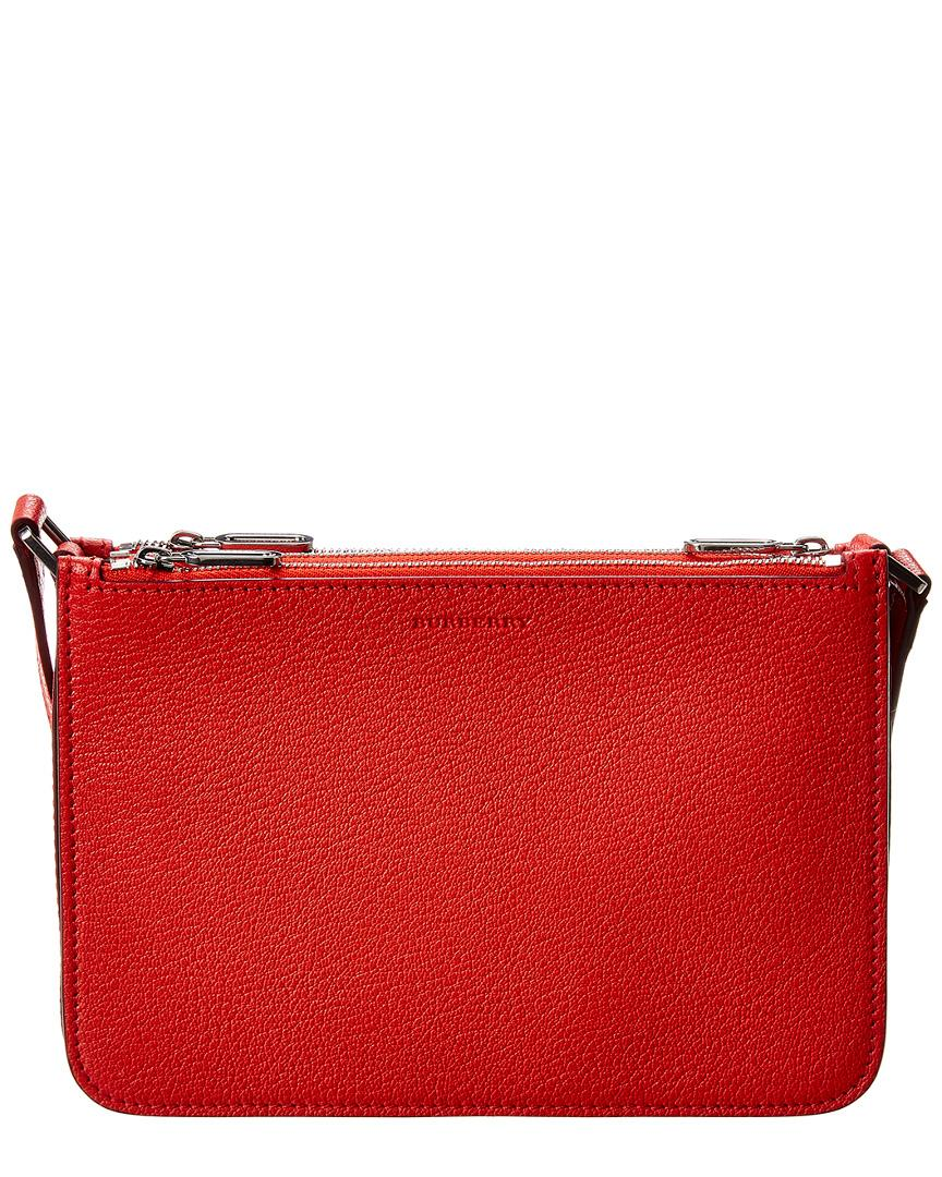 Lyst - Burberry Triple Zip Leather Crossbody in Red e7a094875aec3