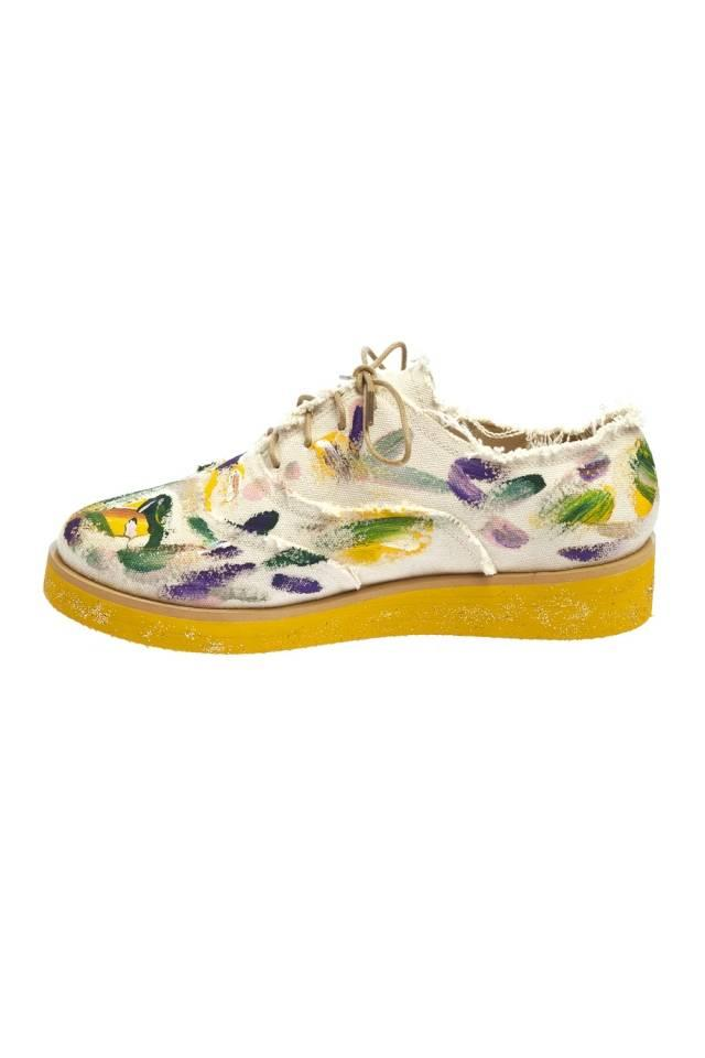 anouki painted multi colored canvas brogues in yellow