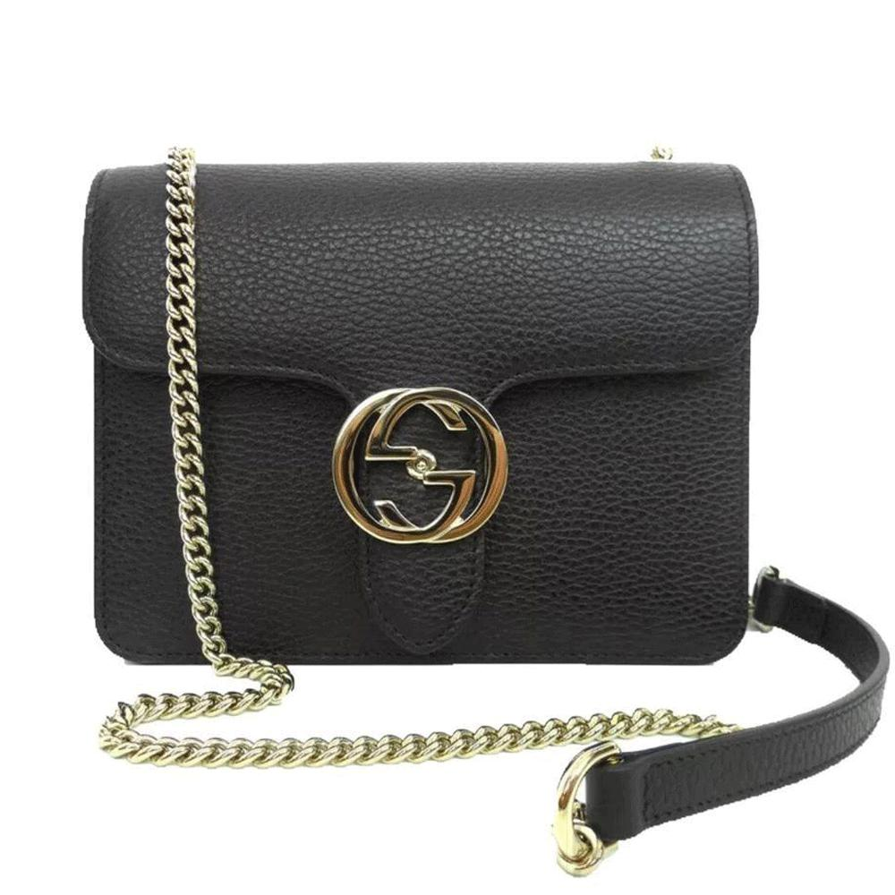 5871b0bdd318 Gucci Black Leather Marmont Interlocking GG Crossbody Bag in Black ...