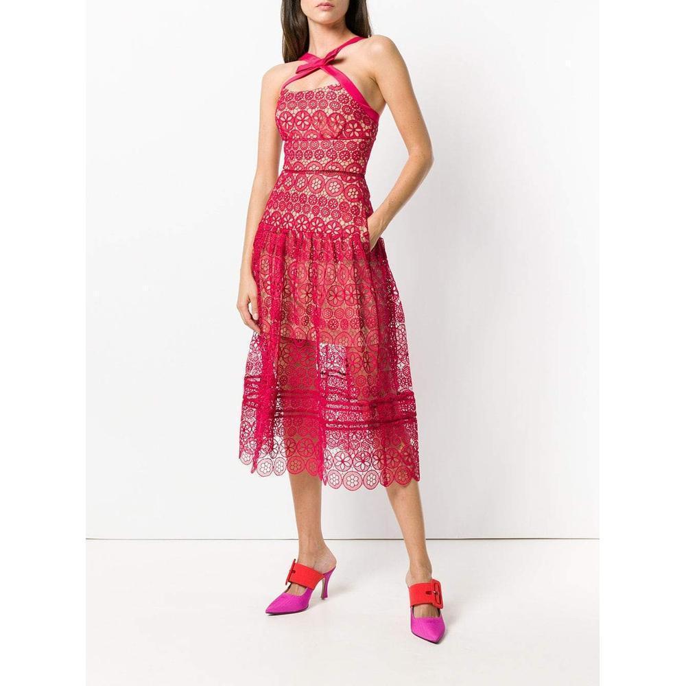 7f6d78148a3d Self-Portrait - Red Floral Lace Midi Dress - Lyst. View fullscreen