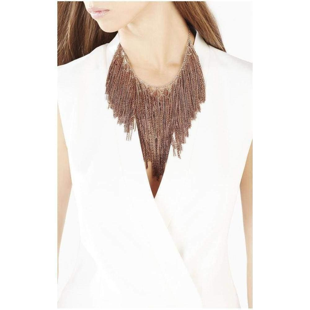 BCBGMAXAZRIA Lattice Woven Bib Necklace in Brown