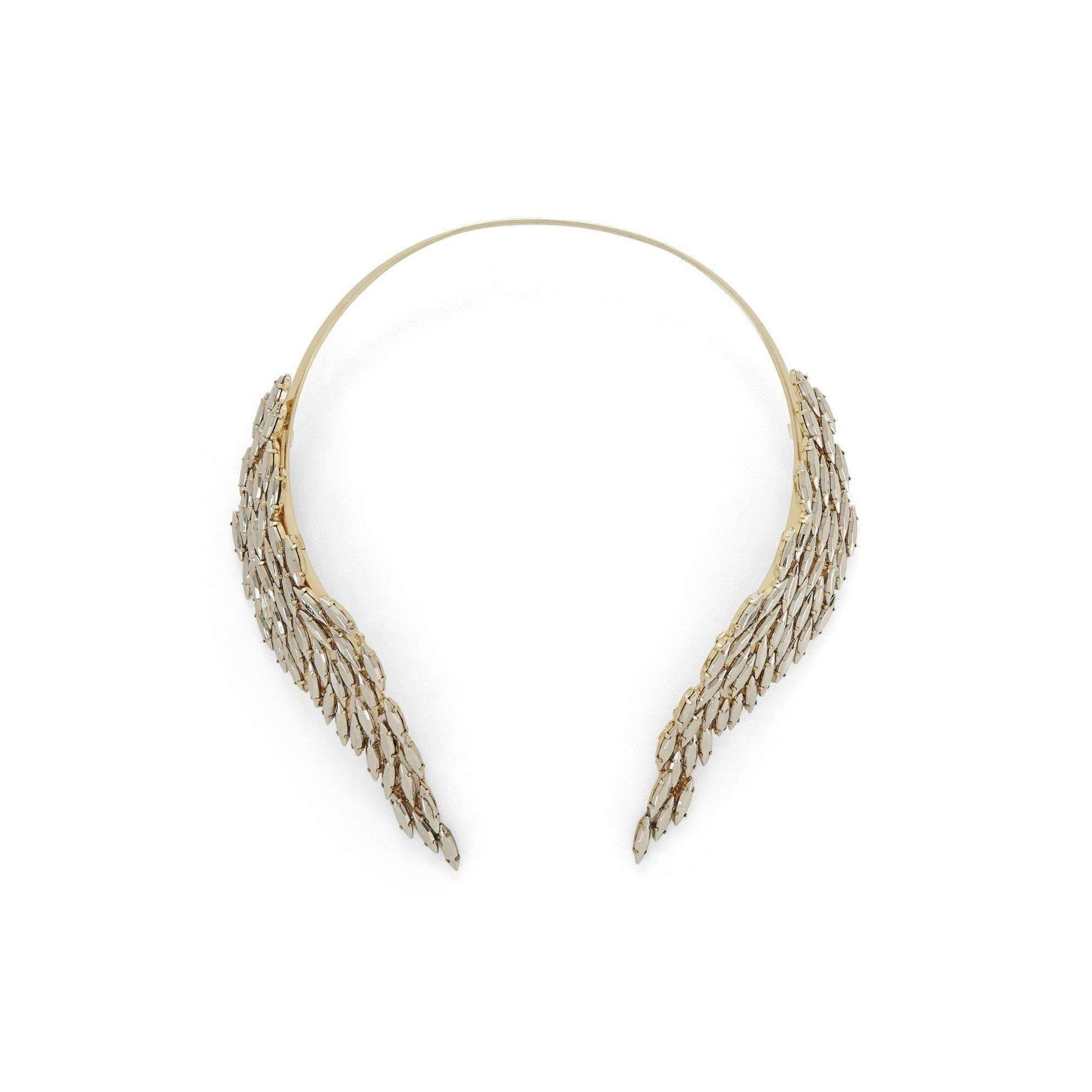 BCBGMAXAZRIA Bcbg Maxazria Metal Stone Fringe Collar Necklace in Metallic