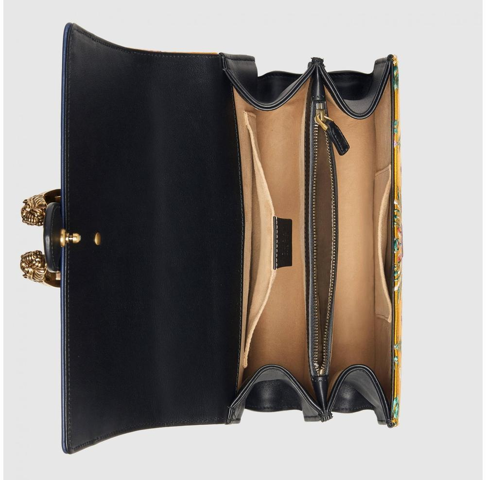 08cfef8b229 Lyst - Gucci Dionysus Medium Yellow Jacquard Bamboo Top-handle Bag