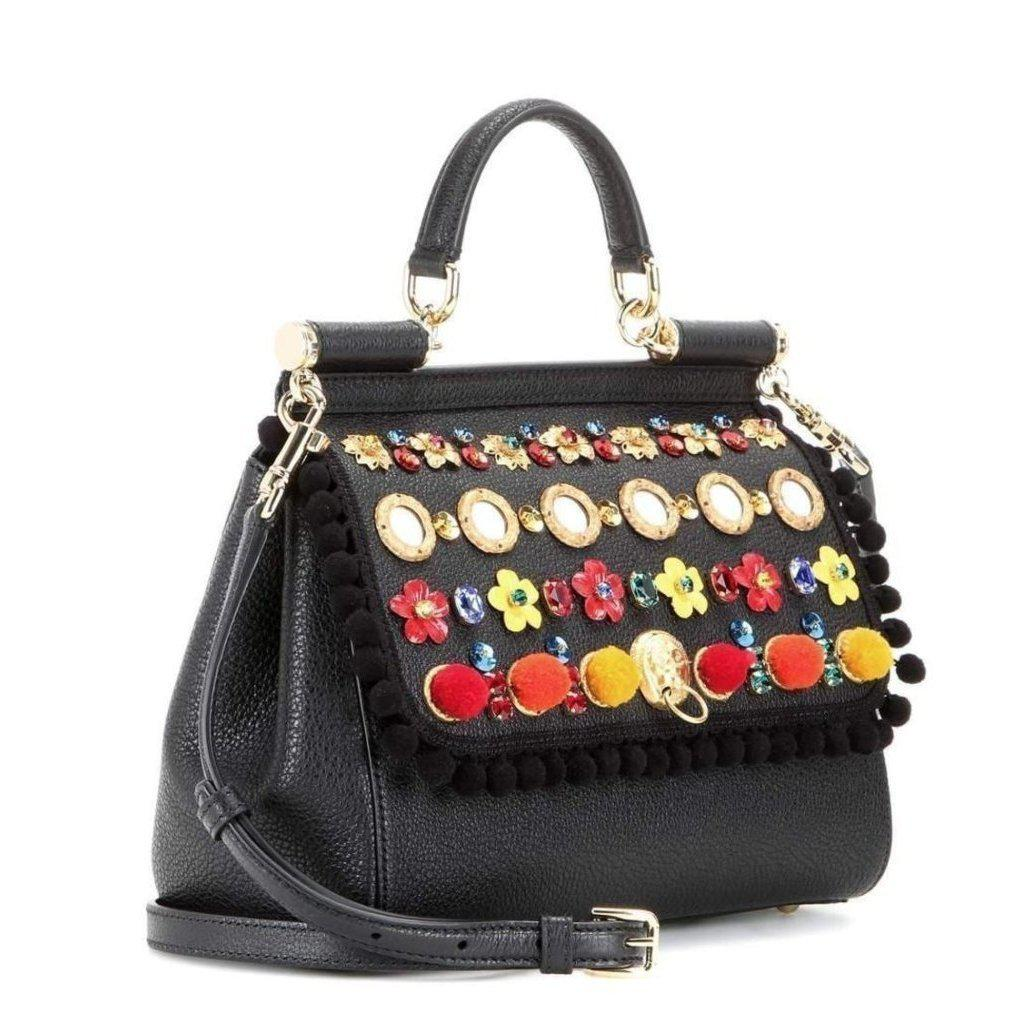 14947bdbd941 Dolce   Gabbana - Black Carretto Siciliano Sicily Medium Embellished  Leather Bag - Lyst. View fullscreen