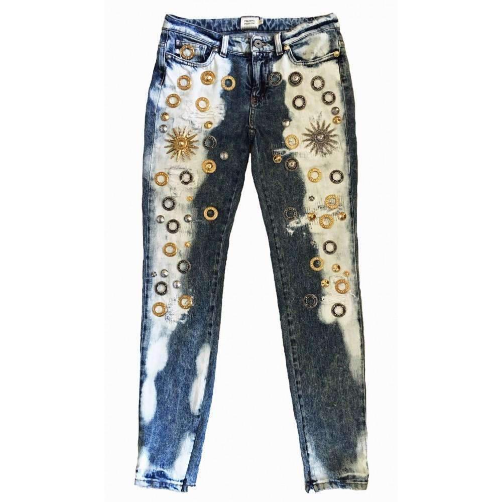 66b7a7219d Lyst - Fausto Puglisi Blue Bleach Skinny Metal Embellishment Jeans ...