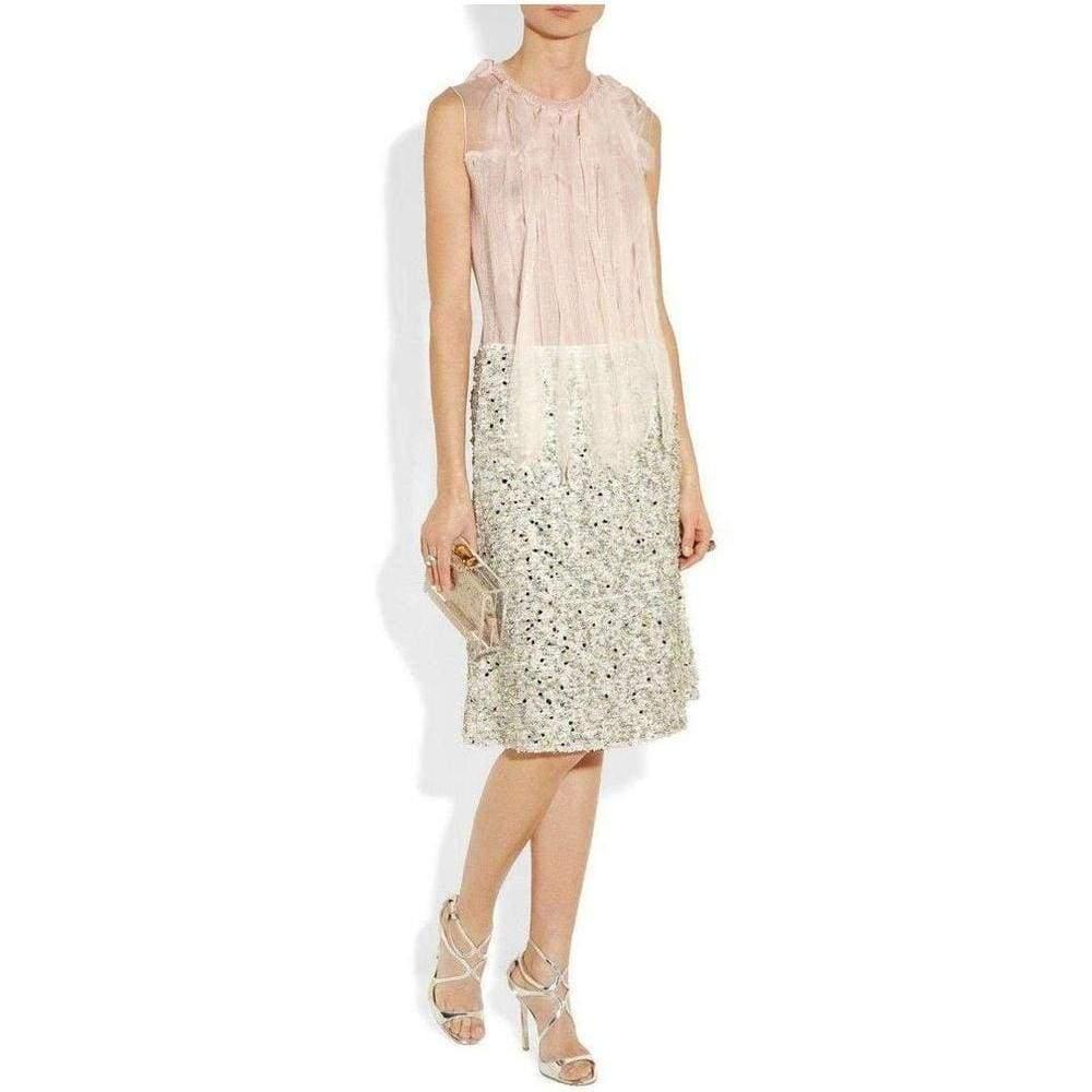 Nina Ricci Cashmere Mousseline Strip Knit Top