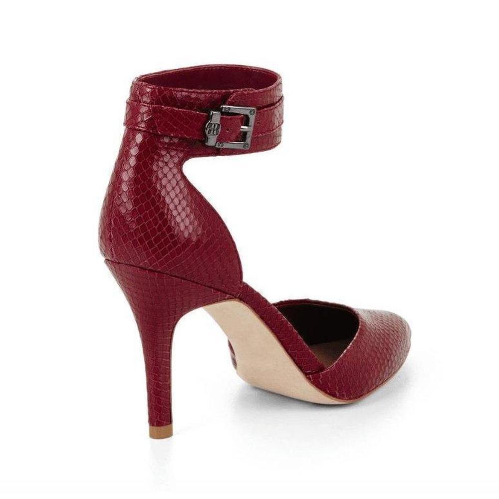 ba99ba9a006 BCBGMAXAZRIA - Red Printz Mid Heel Exotic Leather Pointed Toe Pumps - Lyst.  View fullscreen