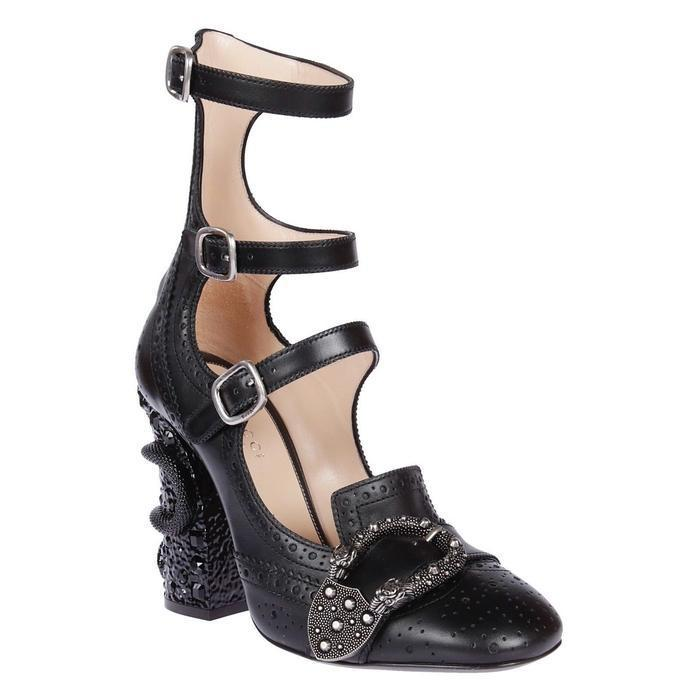 ac70616d4b8 Gucci - Black Queercore Snake Heel Leather Broque Booties - Lyst. View  fullscreen
