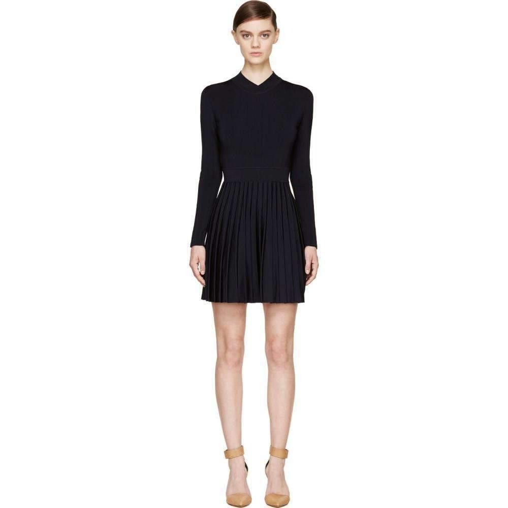 f30b7cf2 Lyst - Balmain Black Ribbed Stretch Knit Mini Dress in Black