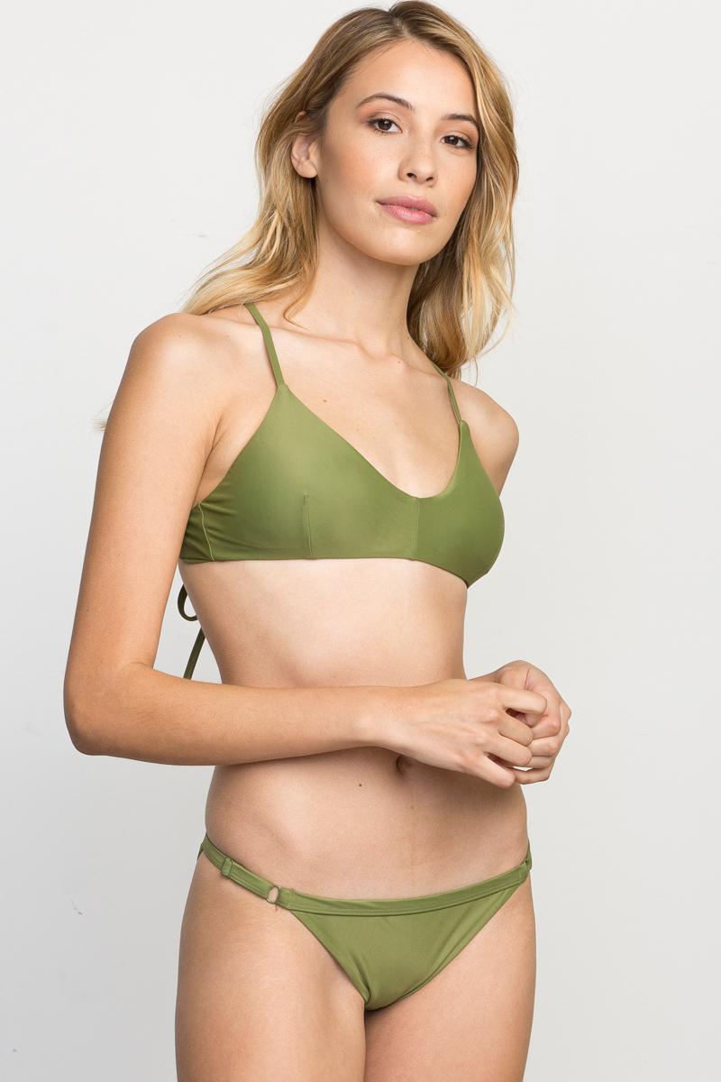 d8a330348a6 Lyst - RVCA Solid Cross Back Bikini Top in Green