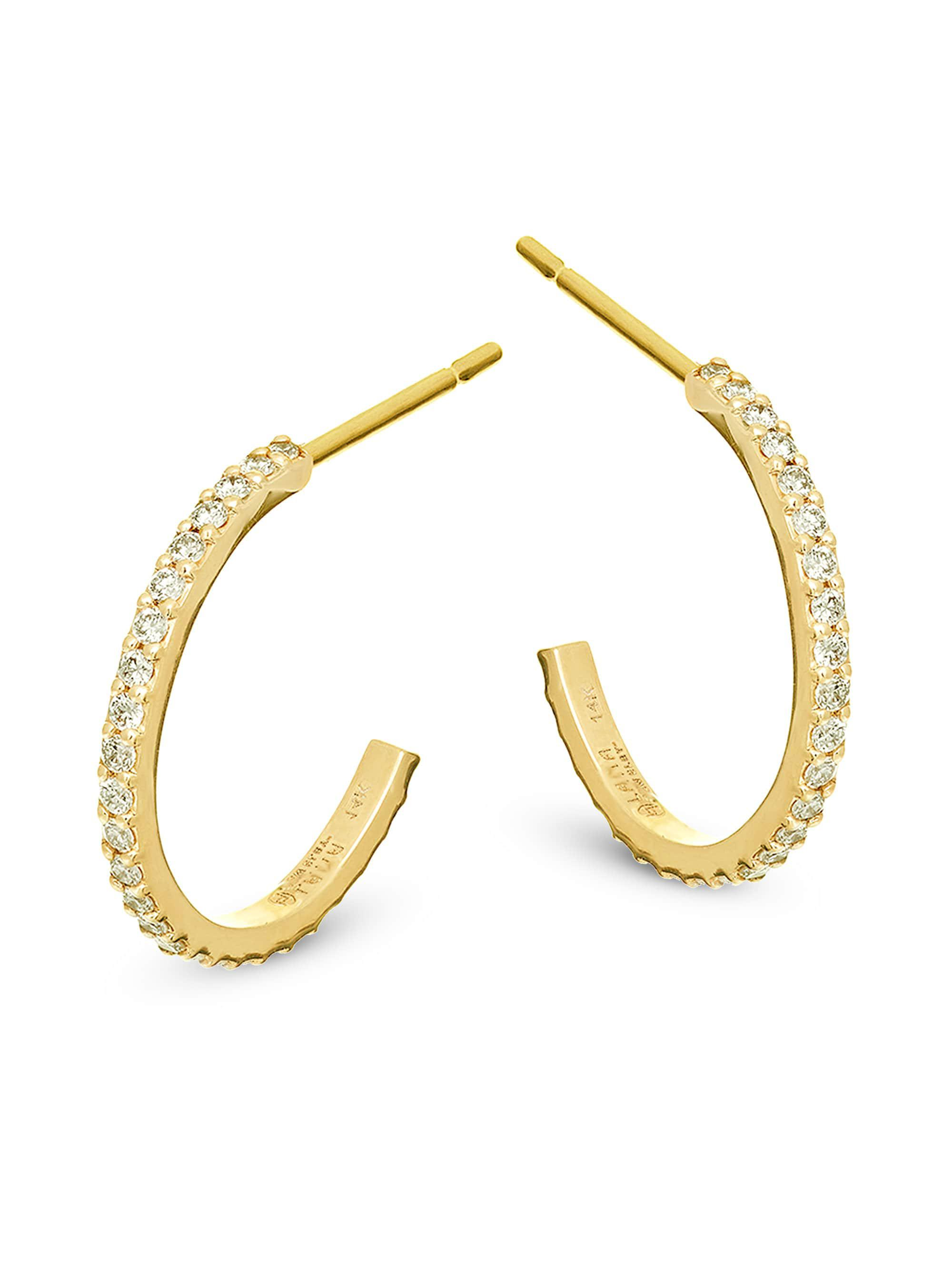 Lana Jewelry Flawless Mini Diamond Hoop Earrings in 14K Yellow Gold 9qV4X