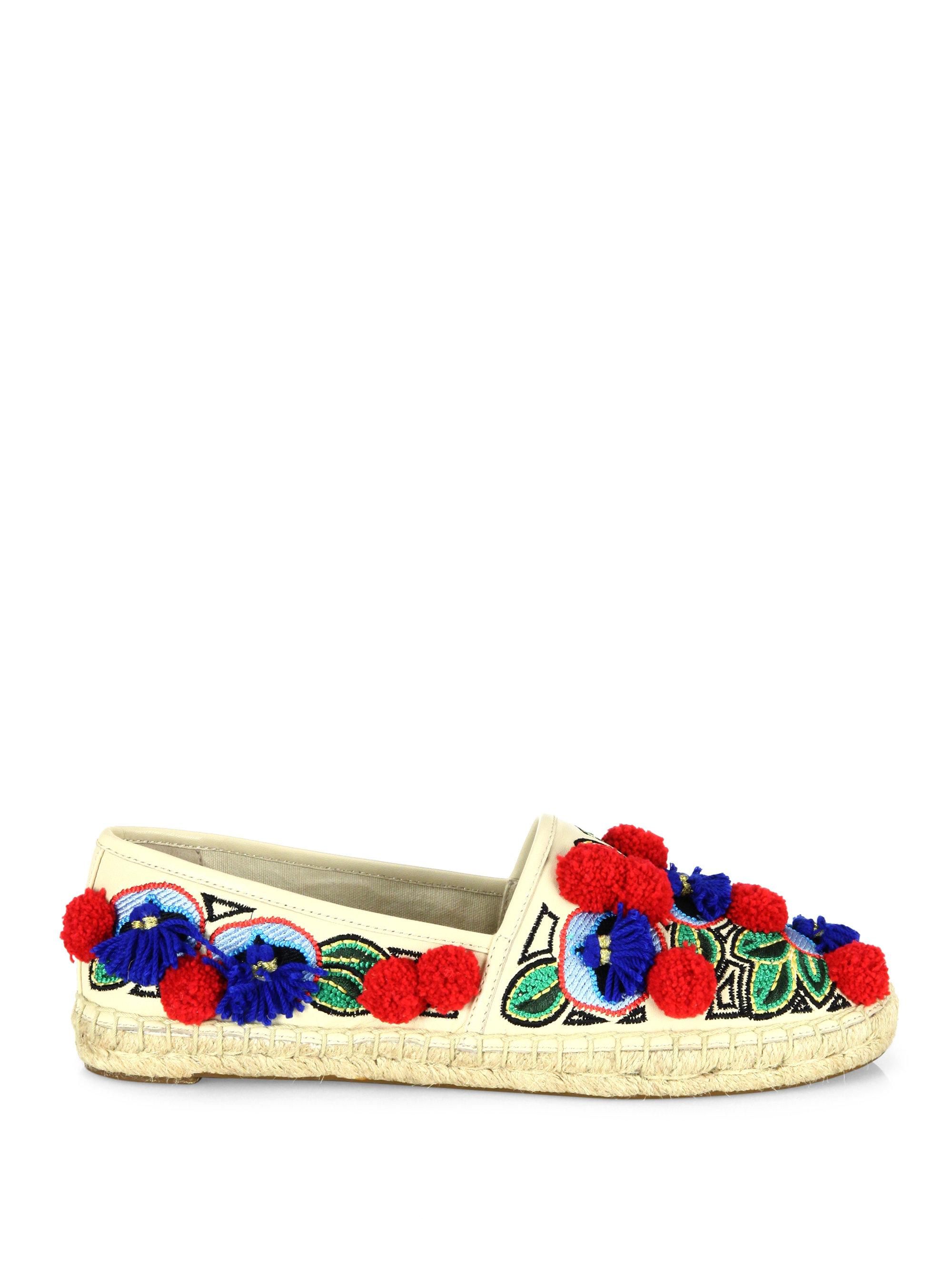 Tory Burch Ellis Pom Pom Embroidered Leather Espadrille