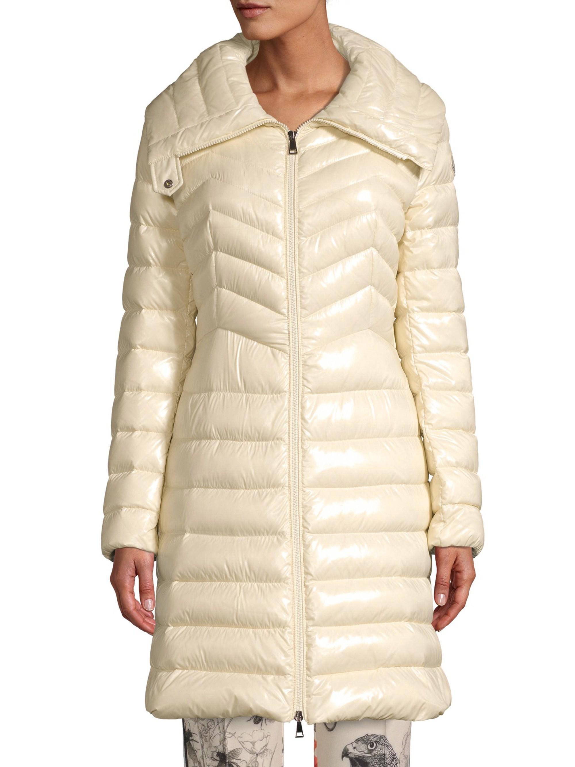 bbd6e3e83 Moncler Natural Faucon Chevron A-line Coat