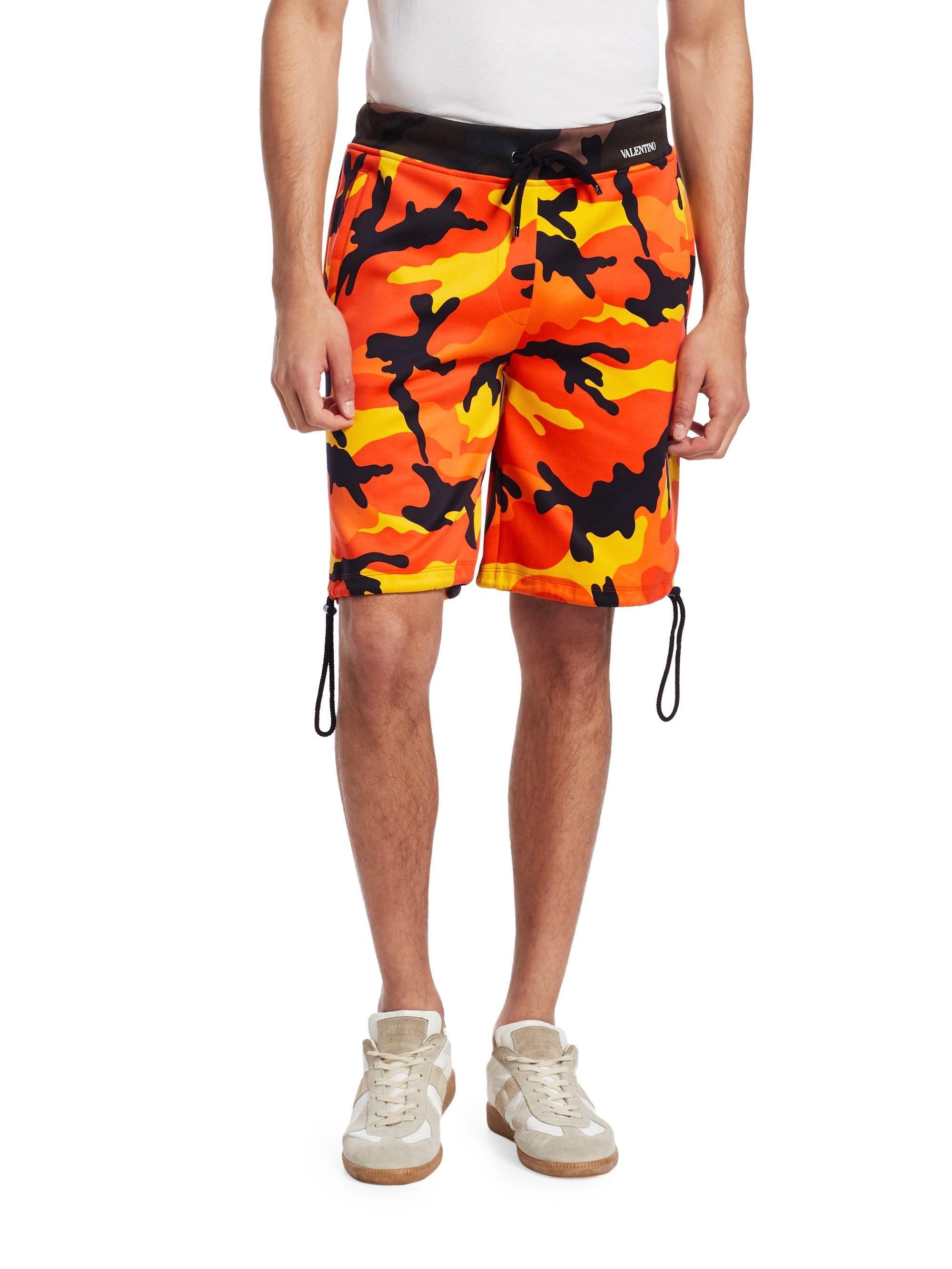 Valentino Men s Camouflage Classic Shorts - Orange Camo - Size Large ... 016566fd506