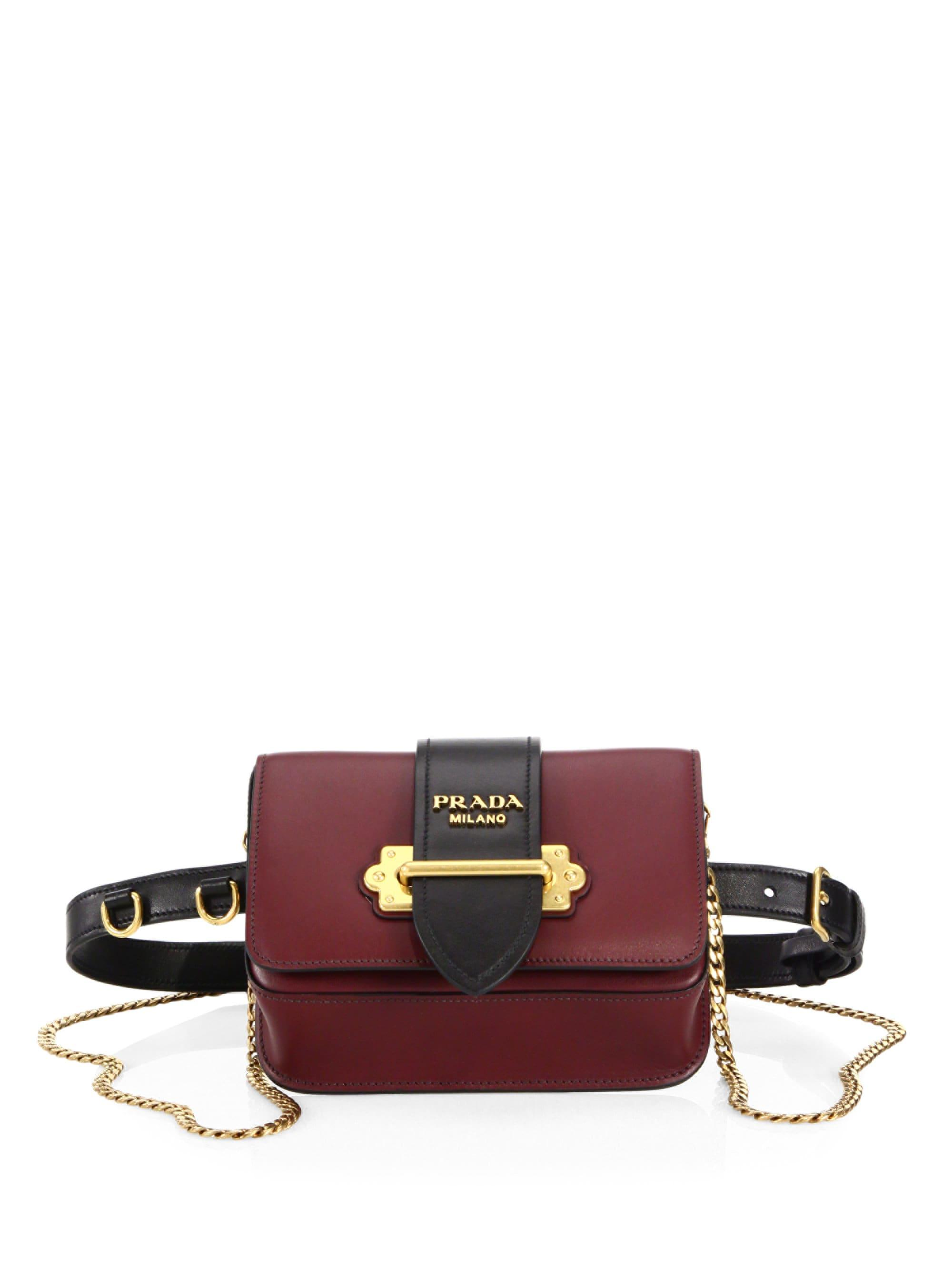 5b8e97595962 Lyst - Prada Marsupio Leather Belt Bag