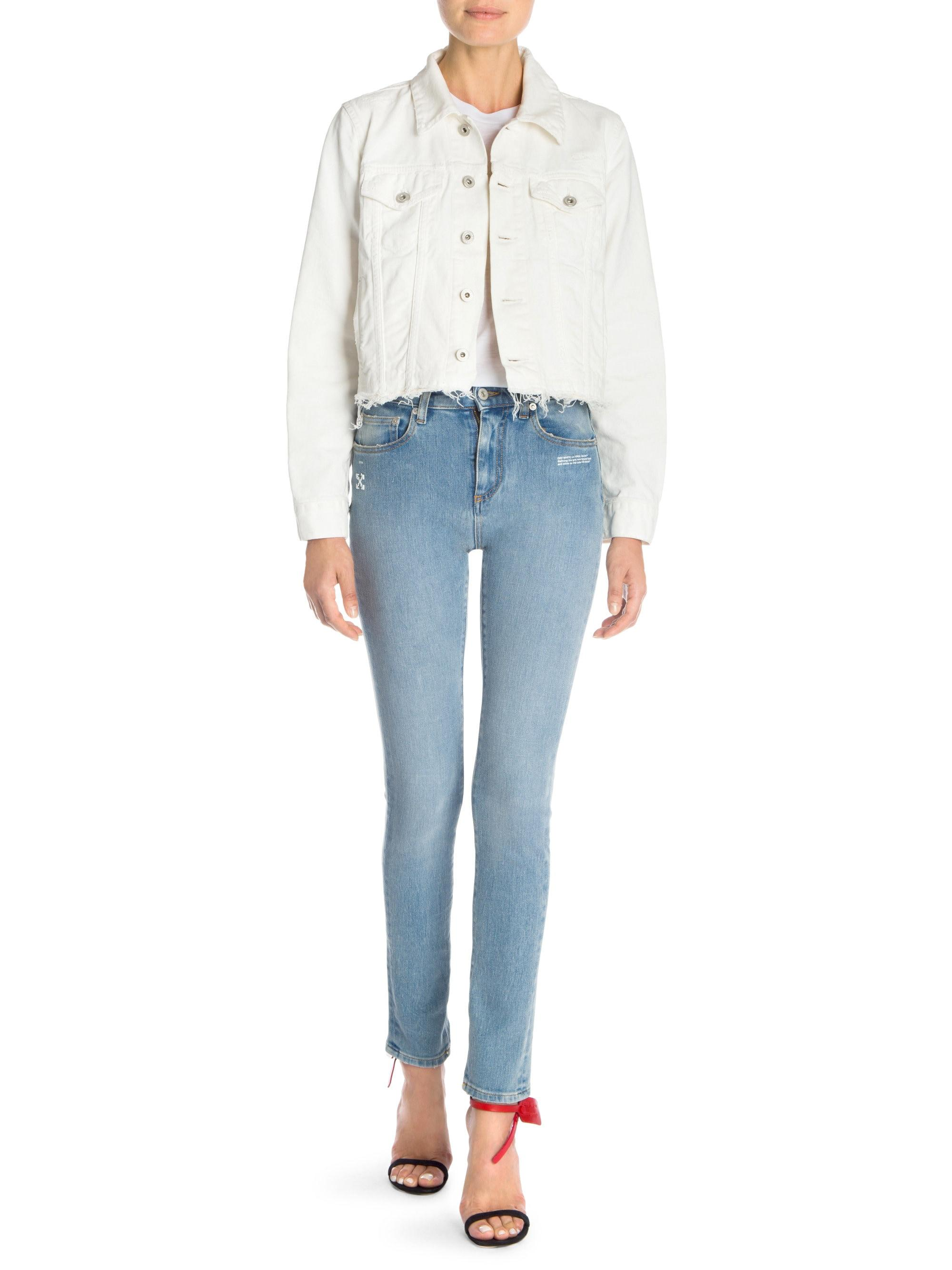 28b2a6e71e18 Lyst - Off-White c o Virgil Abloh Women s Floral Embroidered Denim ...