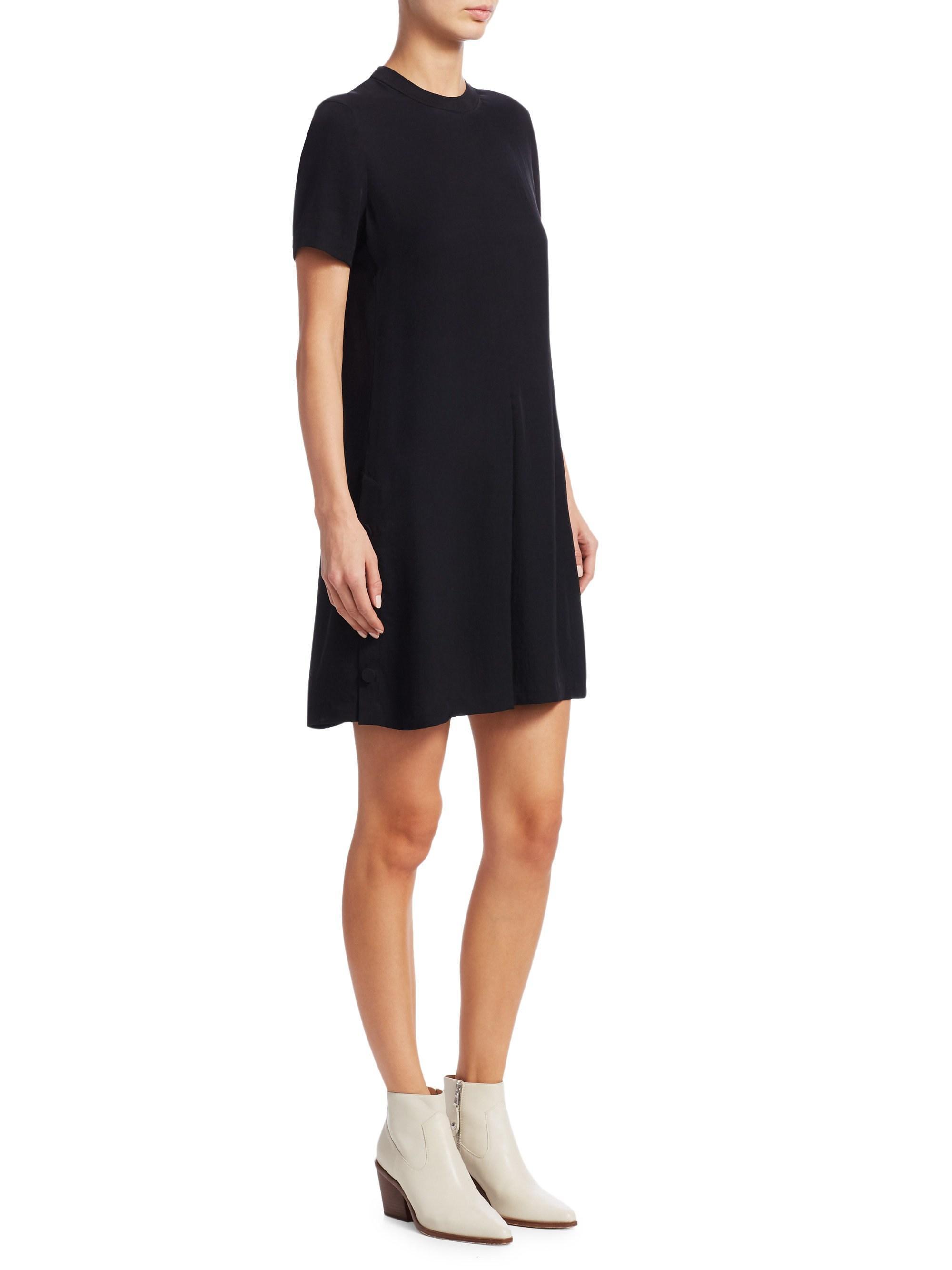 7730443964cc Rag & Bone Aiden Buttoned Flare T-shirt Dress in Black - Lyst