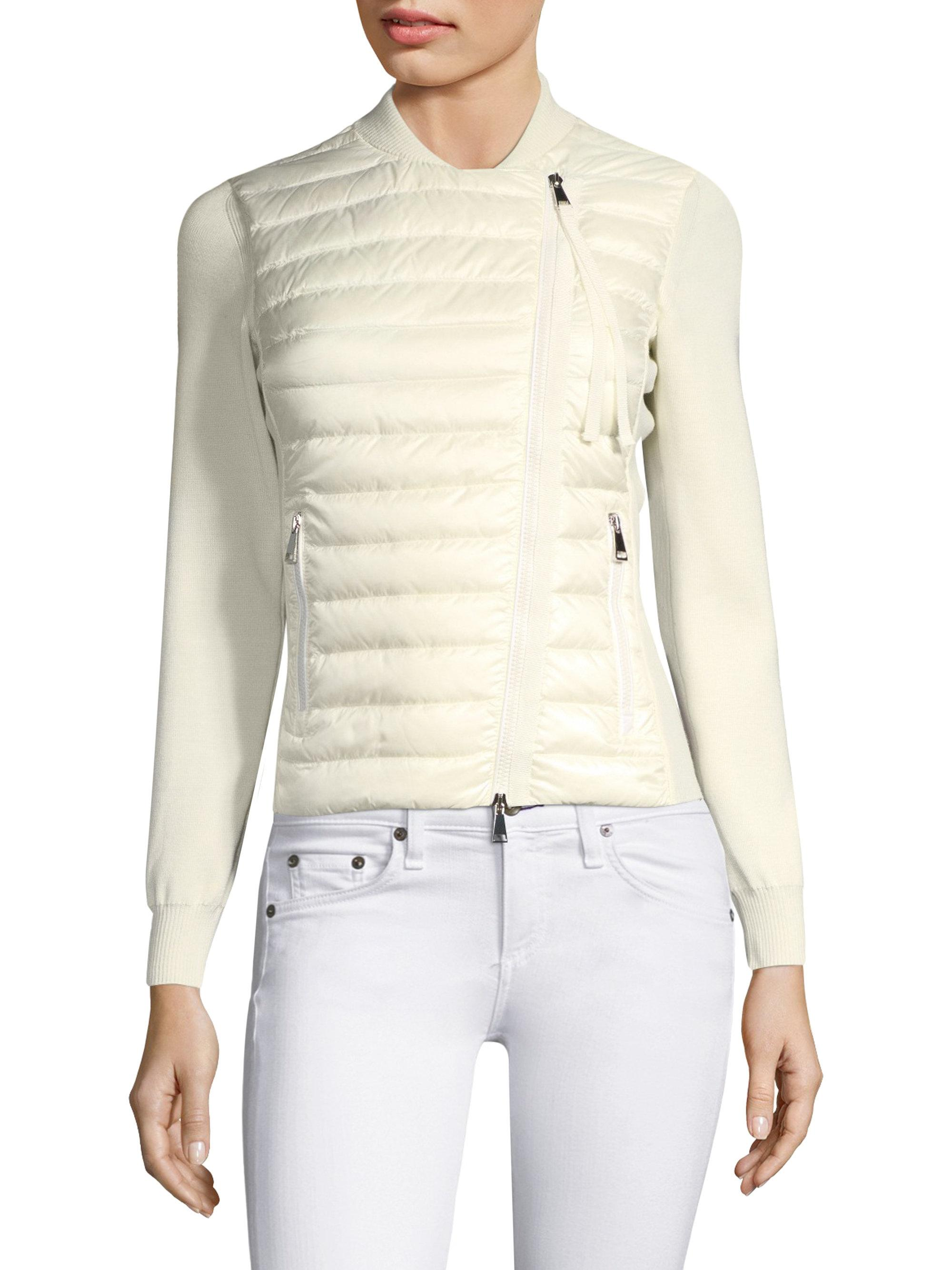 Moncler. Women's White Puffer Knit Jacket