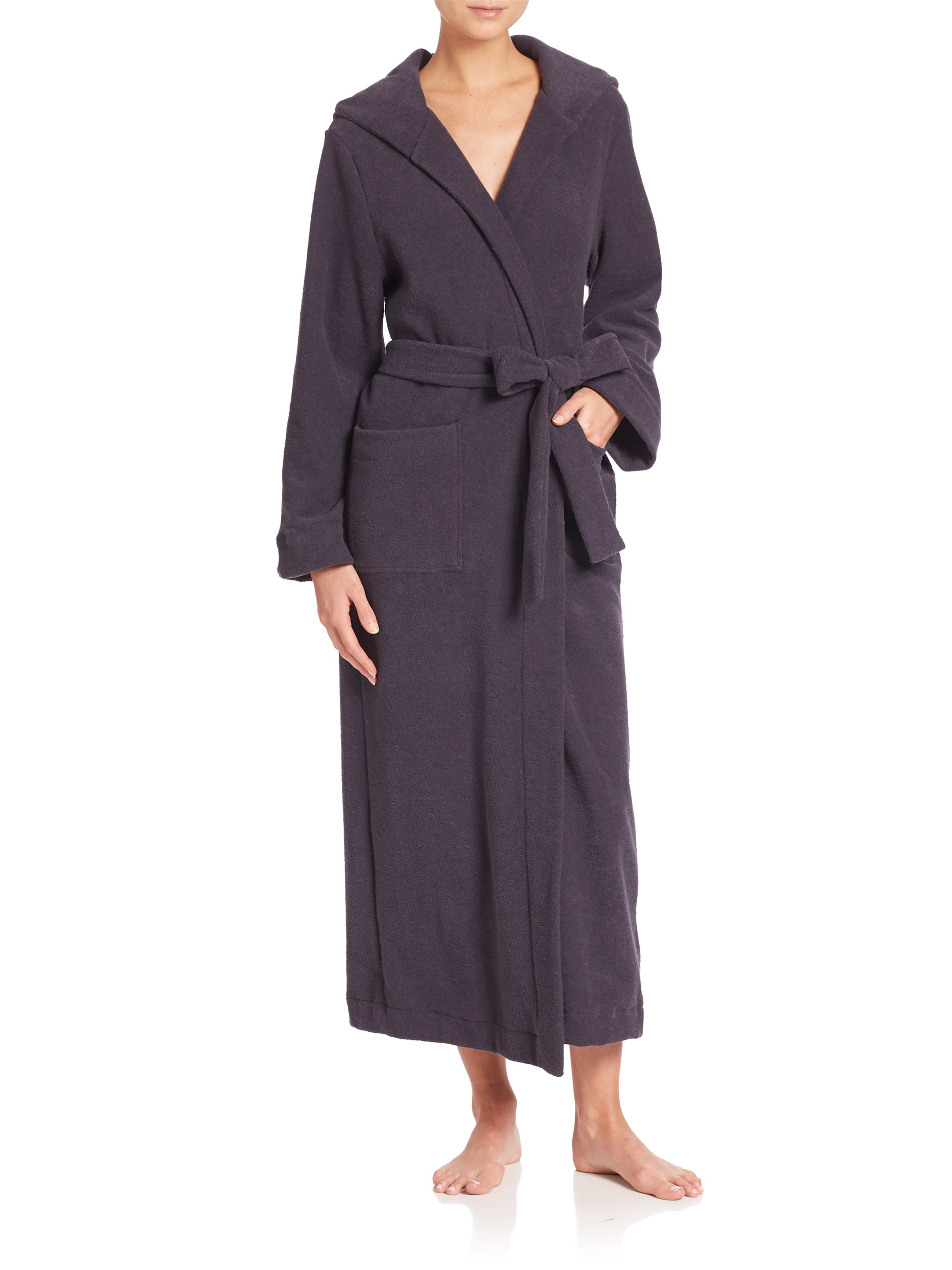 Hanro terry long hooded robe in purple lyst for Saks 5th avenue robes de mariage