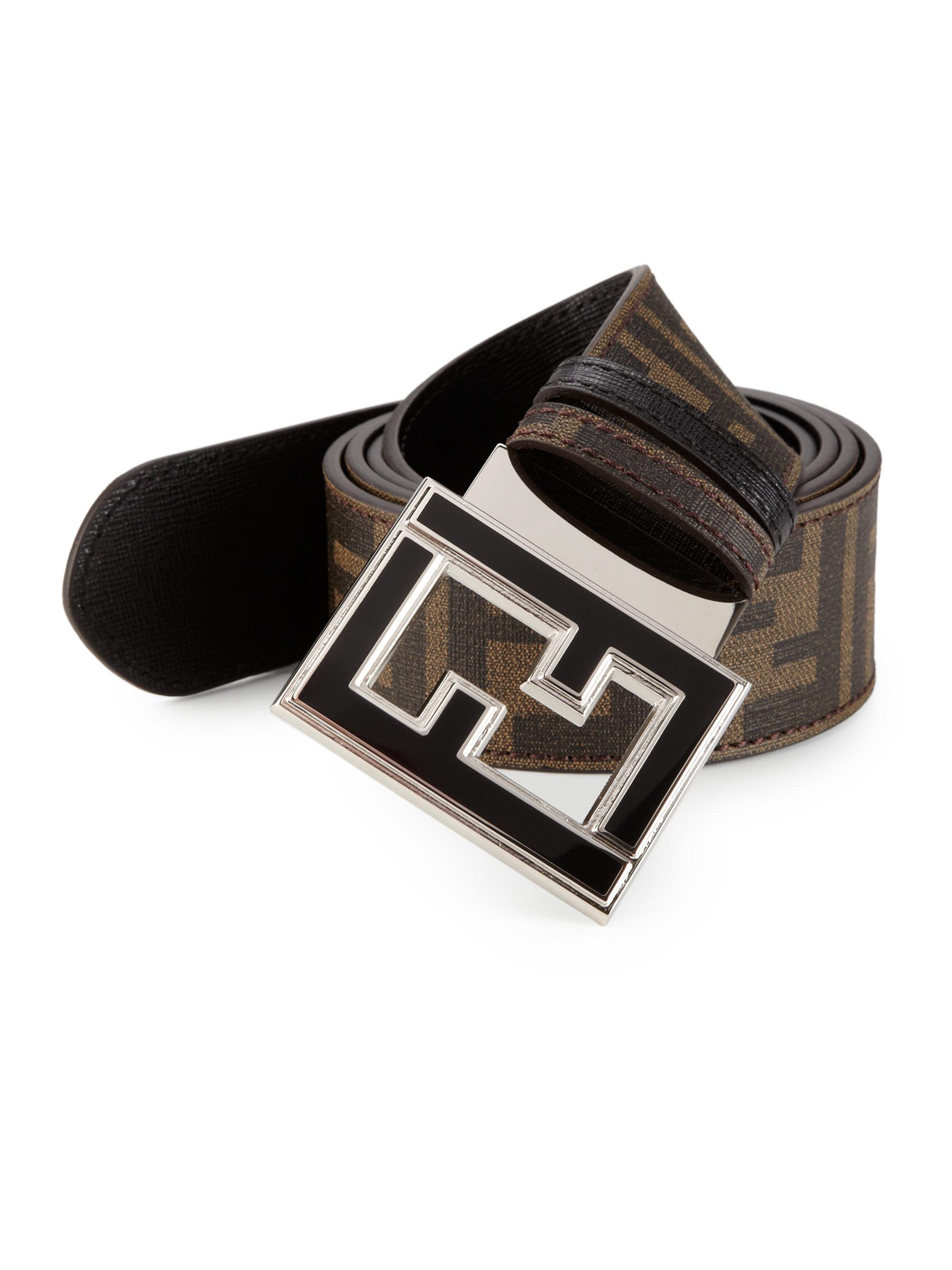 d73d8775ce Fendi Black Zucca Reversible Leather Belt for men