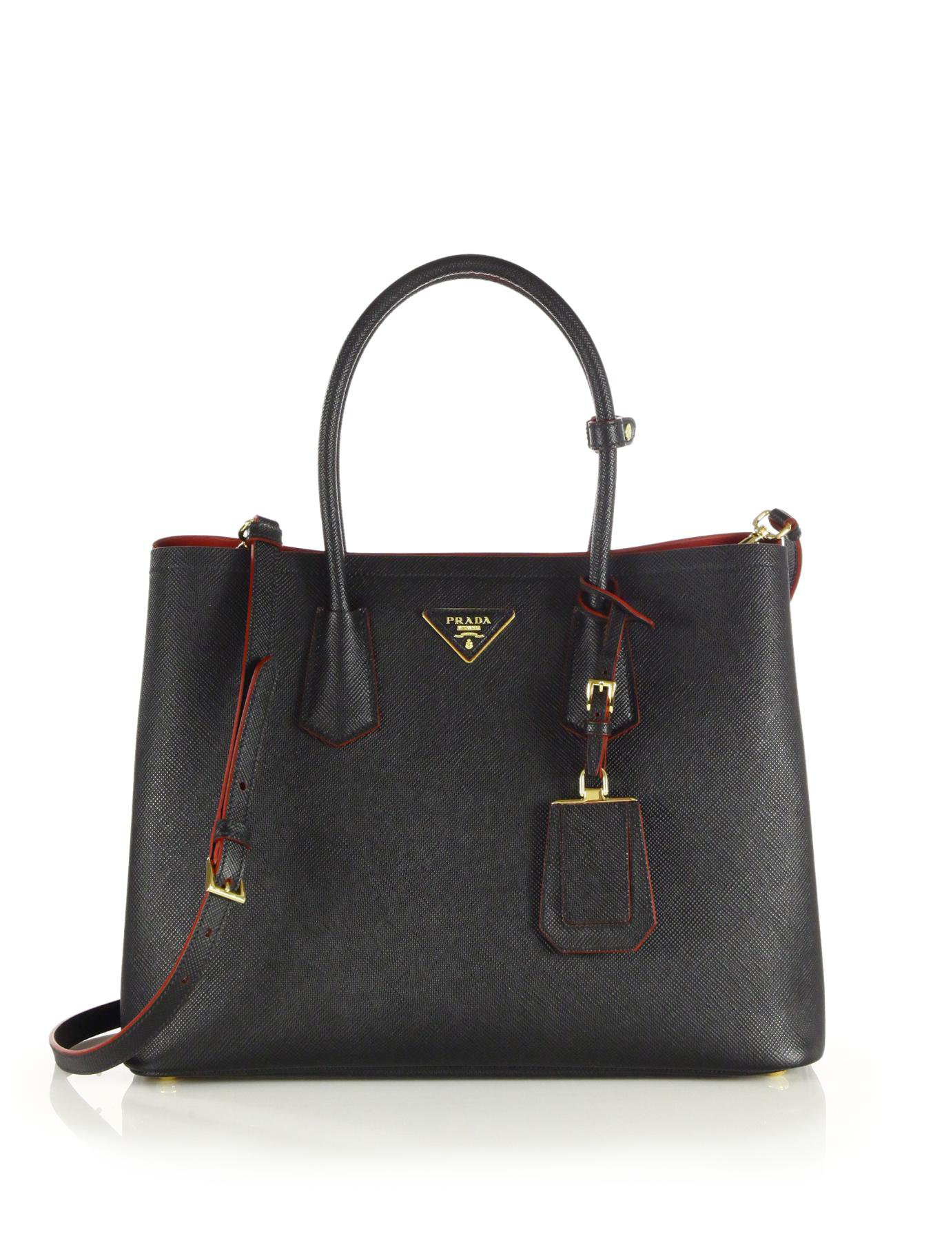 ff86b7810fab68 Prada Saffiano Cuir Double Bag Large | Stanford Center for ...