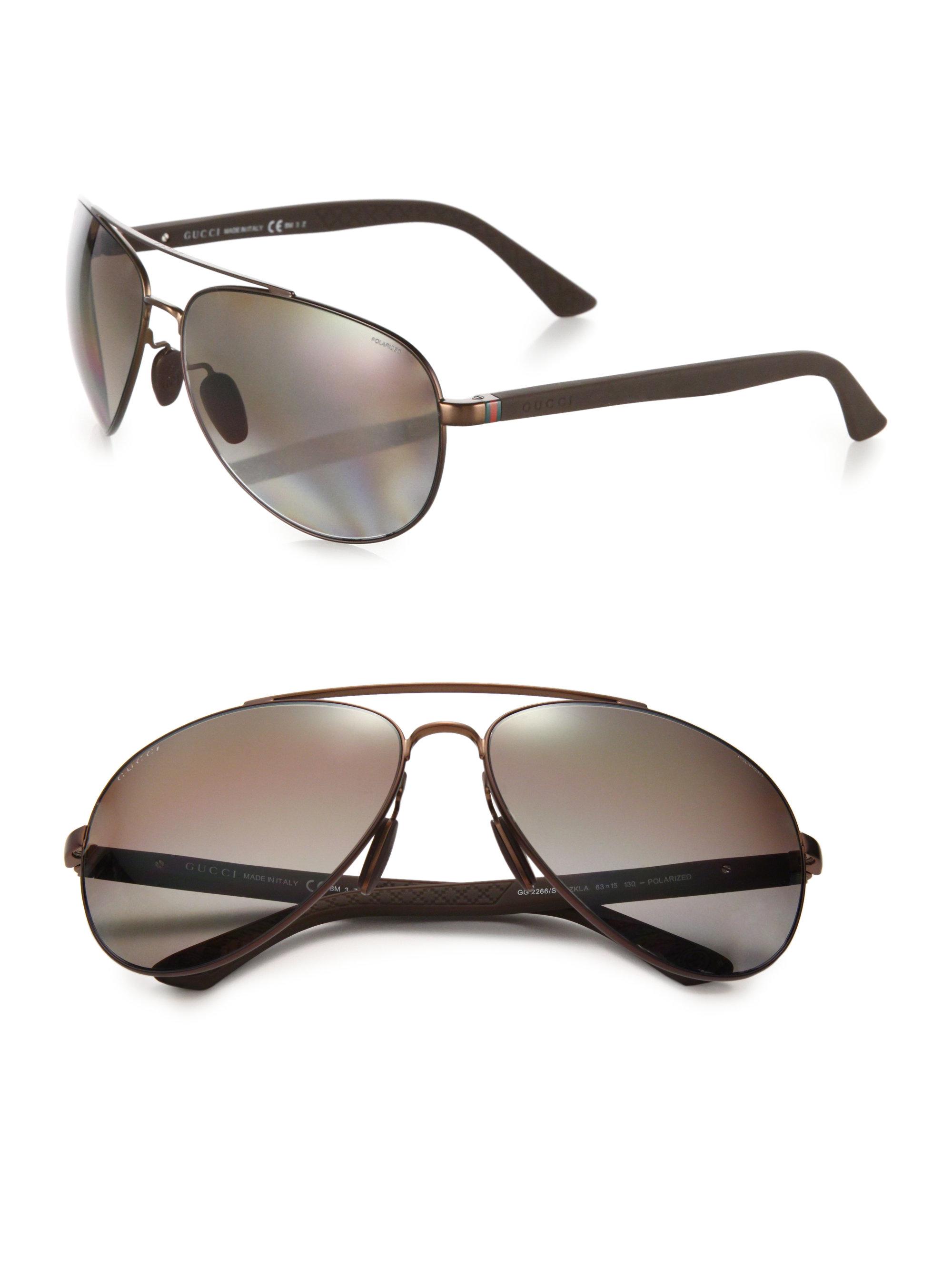 efa33264273fe Gucci 63mm Metal Aviator Sunglasses in Brown for Men