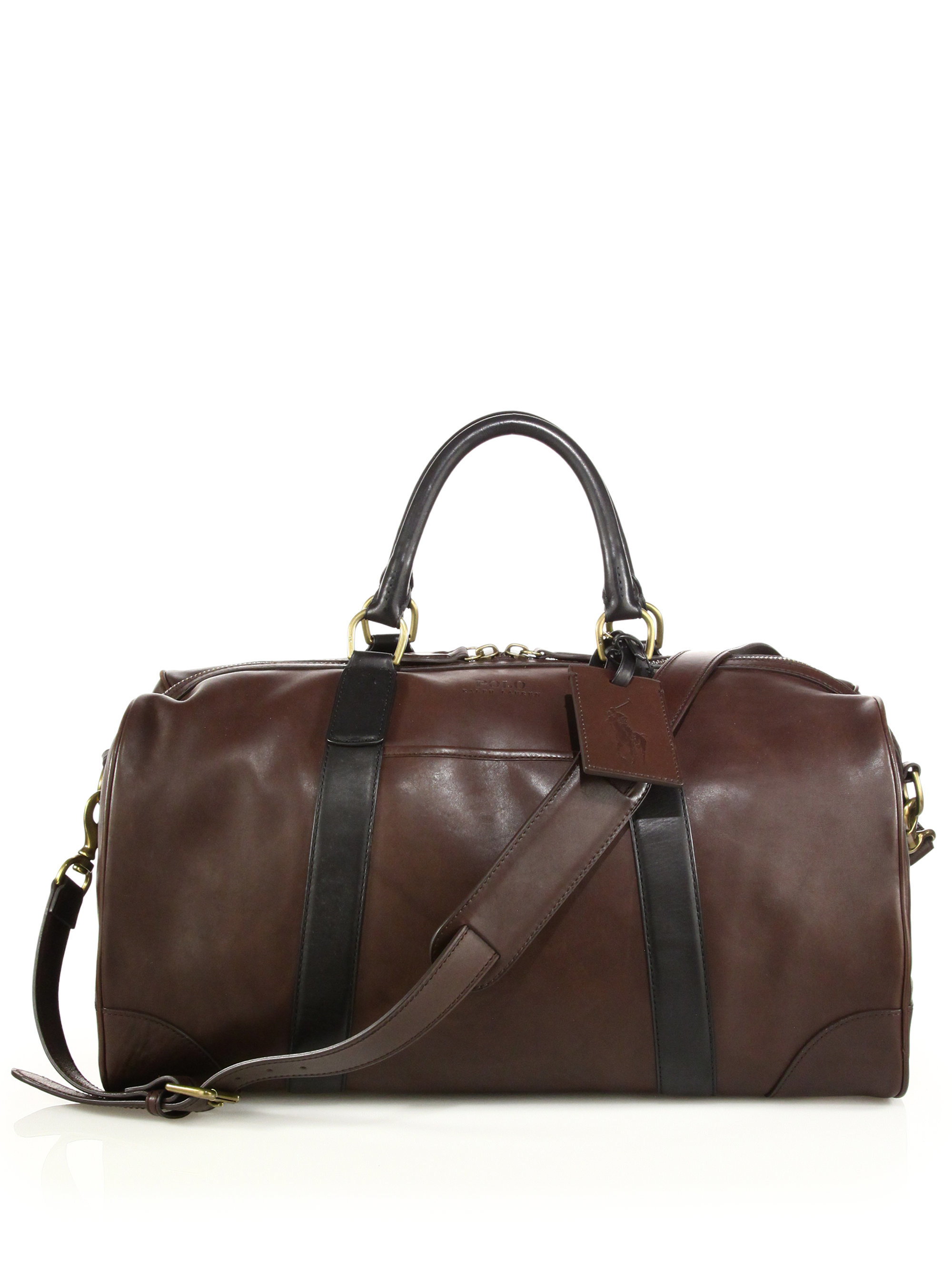 4792962ab8cb Lyst - Polo Ralph Lauren Two-toned Leather Duffel Bag in Brown for Men