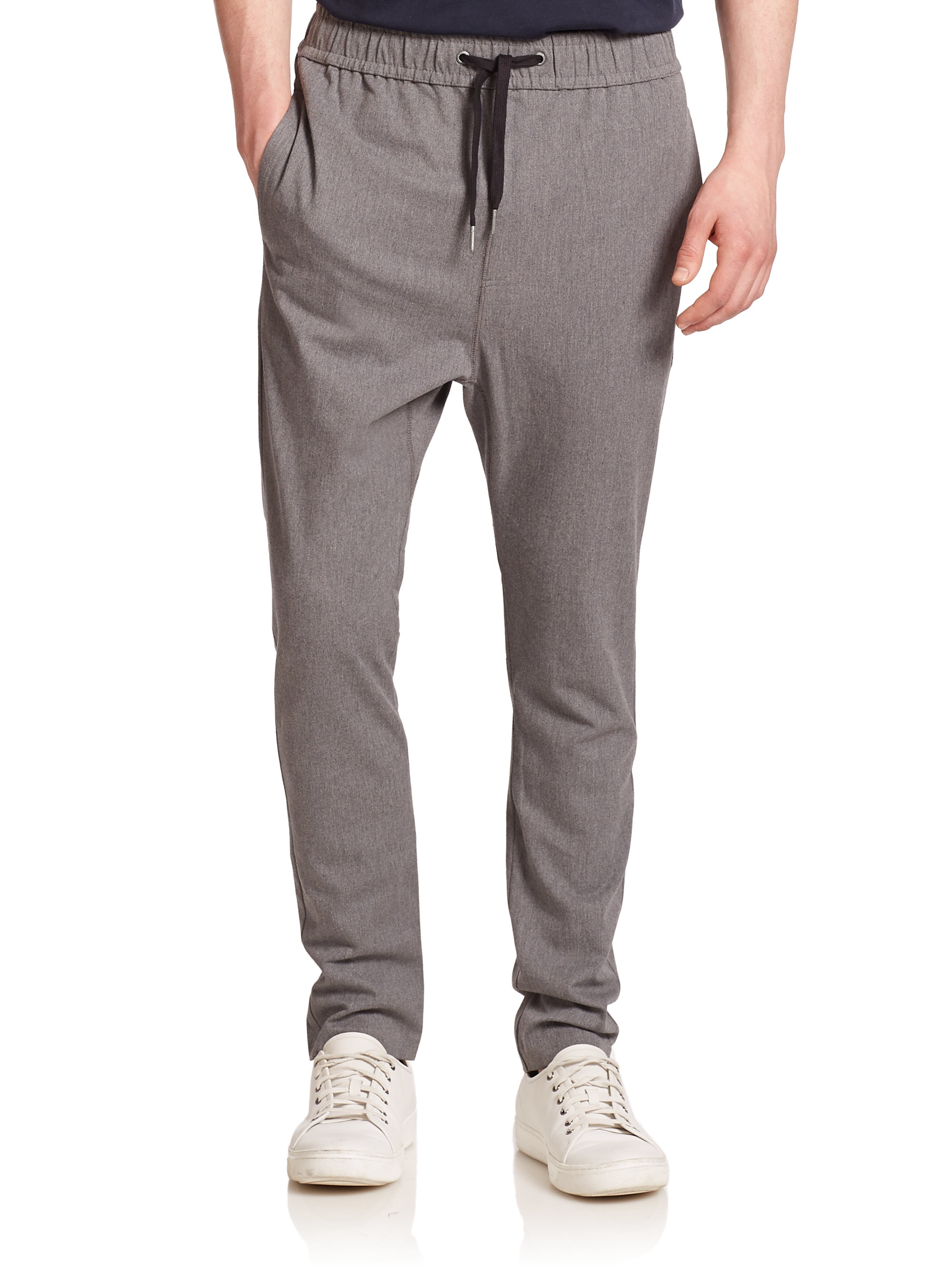 Lyst Zanerobe Stretch Cotton Drawstring Pants In Gray For Men