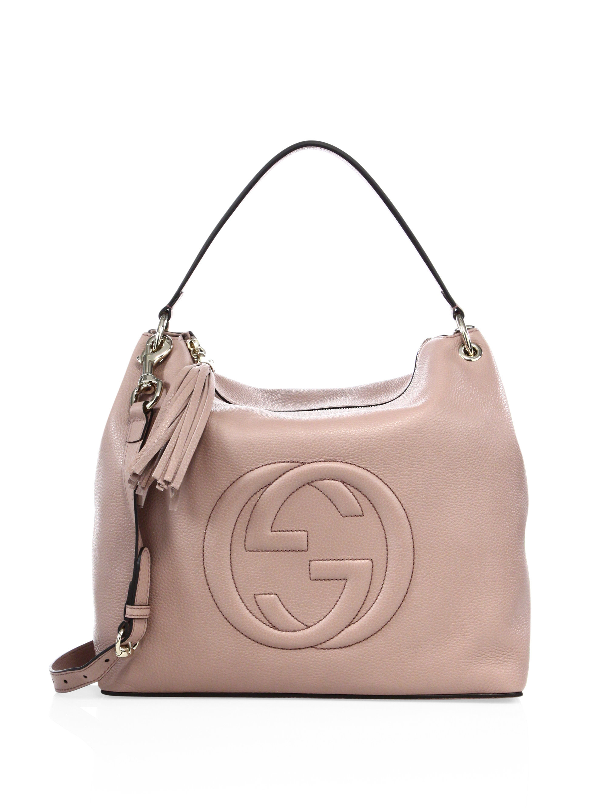 gucci soho large leather hobo bag in pink lyst. Black Bedroom Furniture Sets. Home Design Ideas