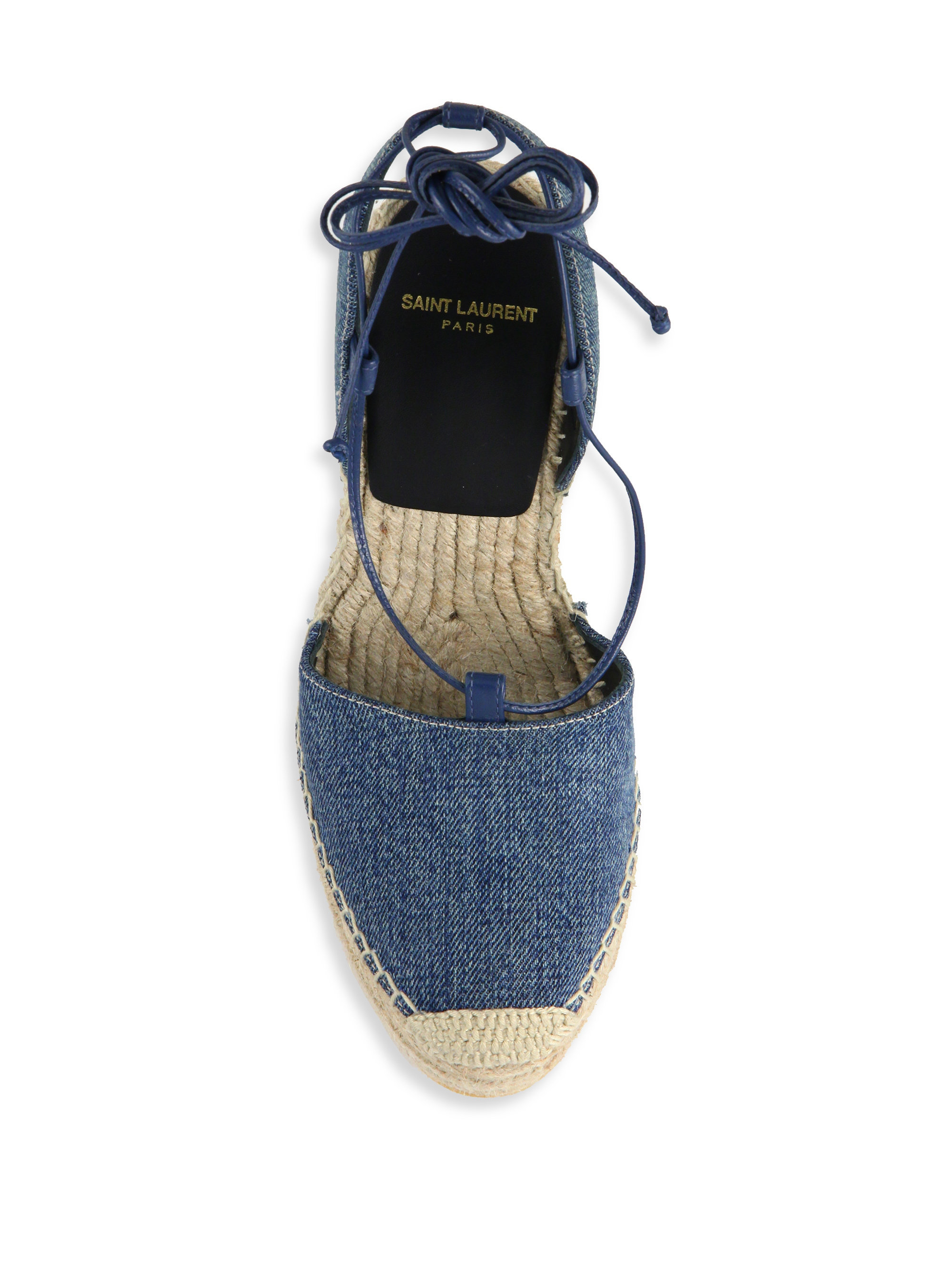 Lyst Saint Laurent Denim Espadrille Wedge Sandals In Blue