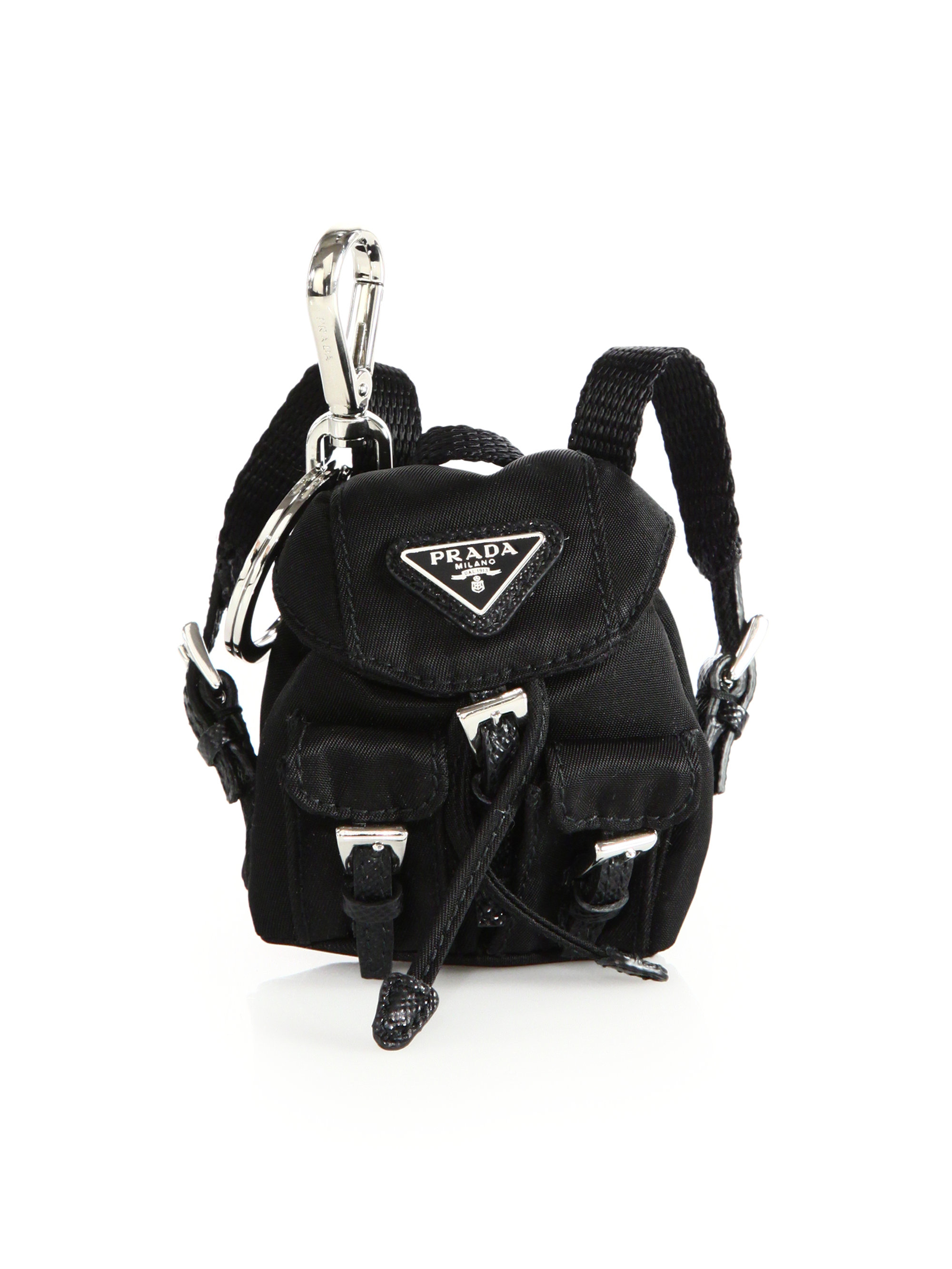 fe8b23d9967d8b ... spain lyst prada vela backpack keychain in black 4ca96 13f03