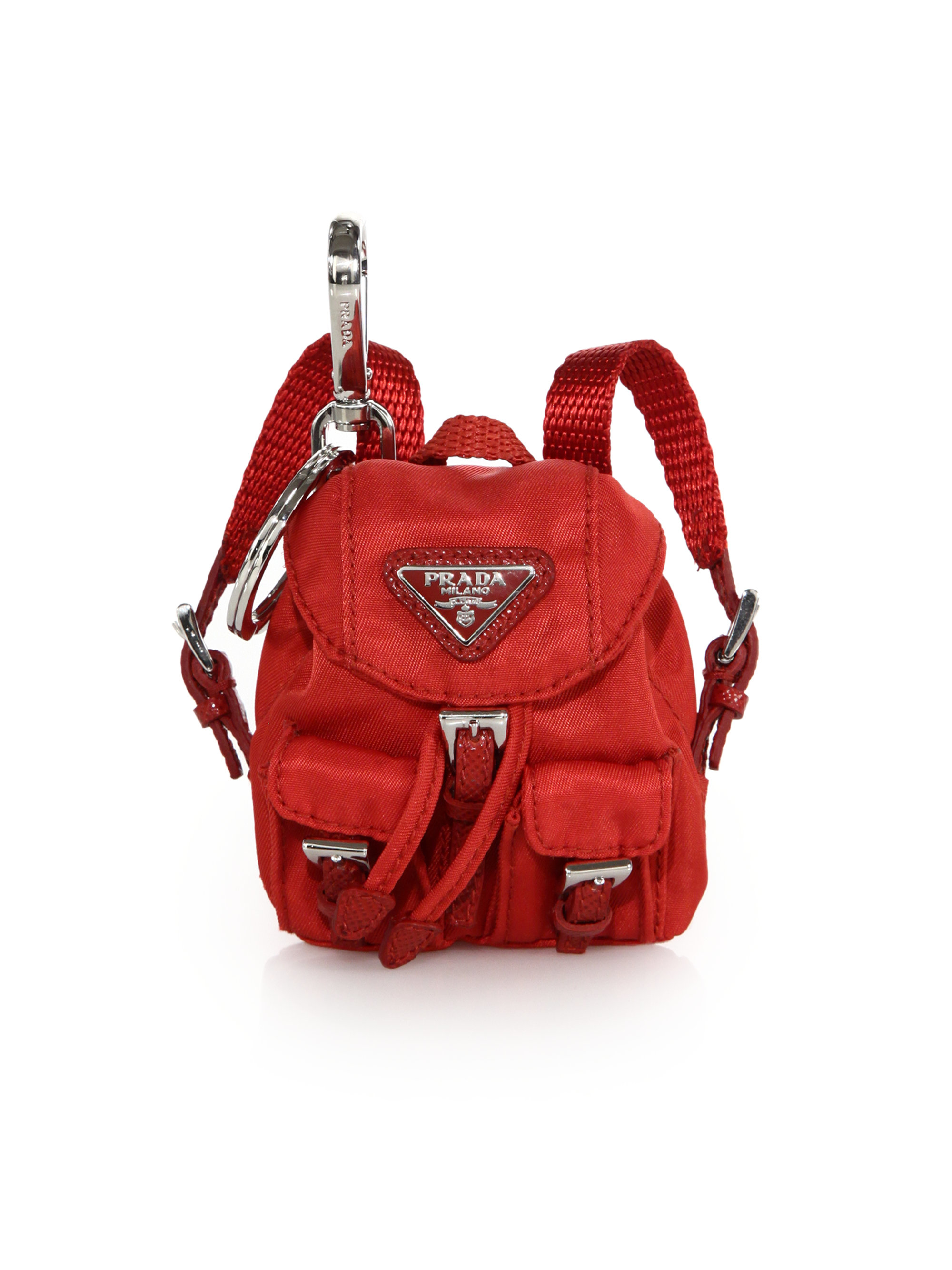91342df22dfa Lyst - Prada Vela Backpack Keychain in Red