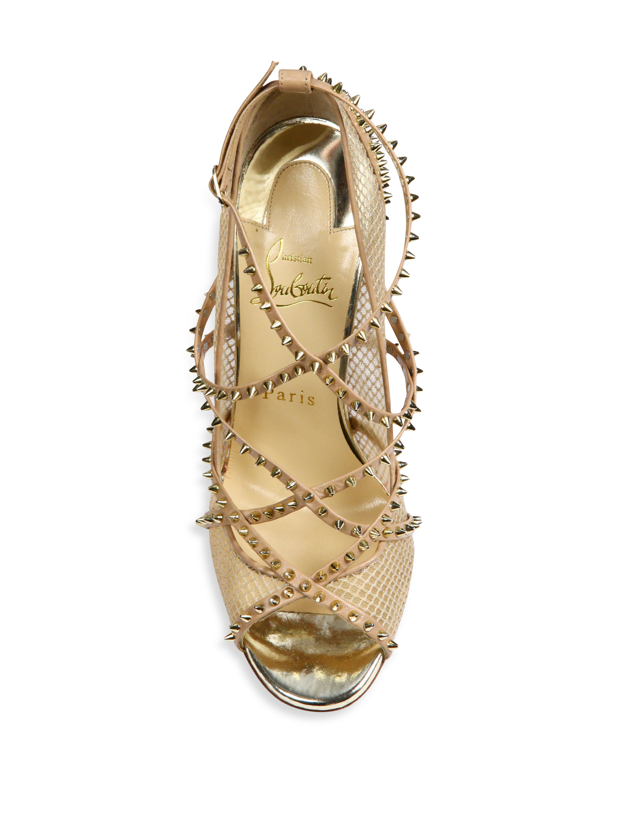 44481261d5c Christian Louboutin Metallic Alarc Spiked Strappy Mesh Sandals