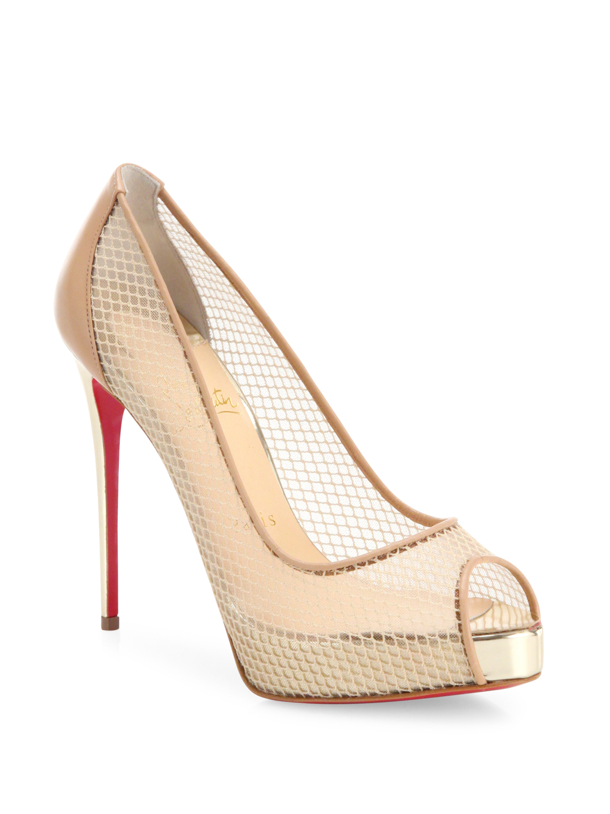 san francisco 5df51 3991f Christian Louboutin Red Very Rete Mesh Peep Toe Pumps