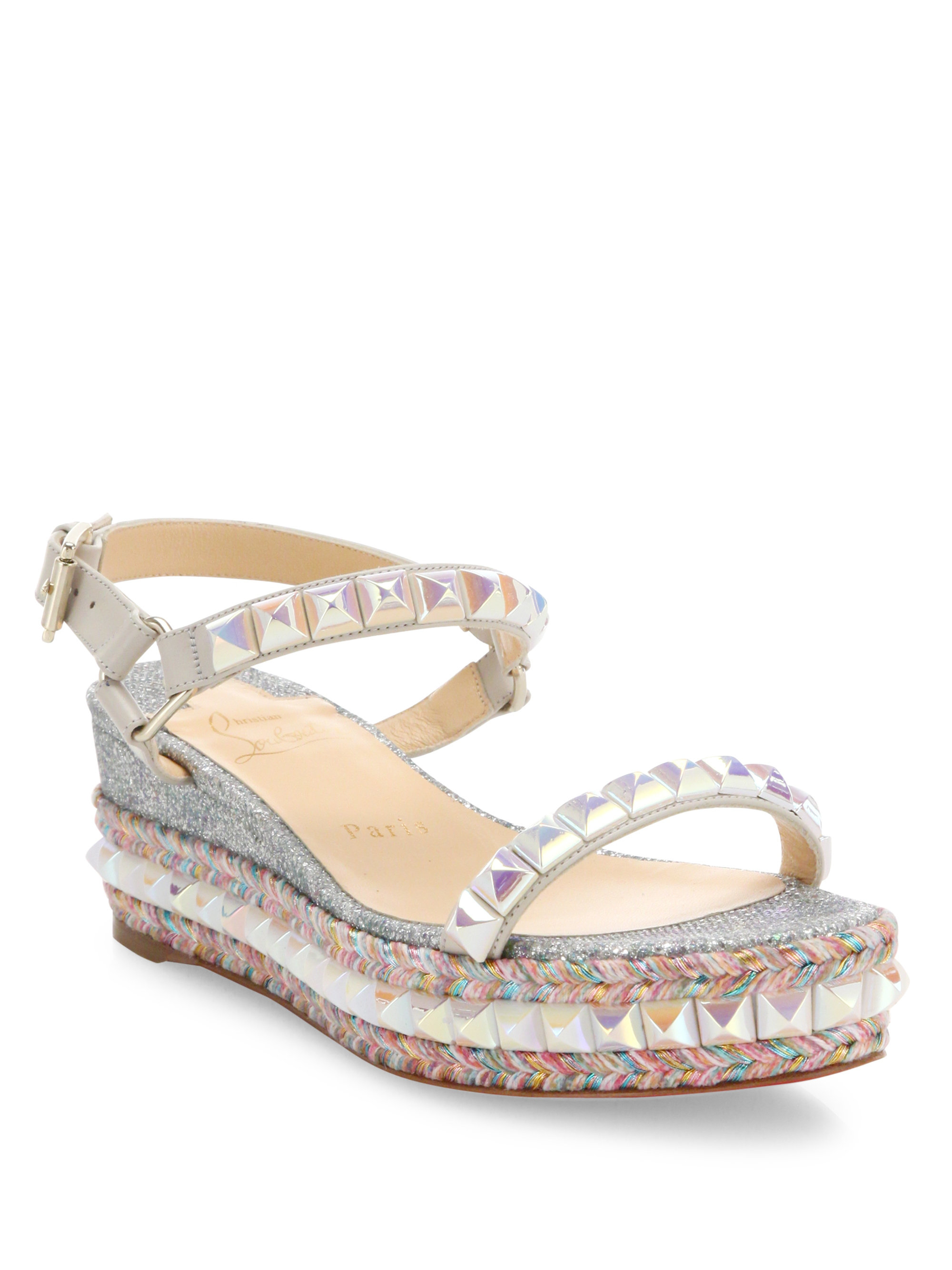 Christian Louboutin Cataclou Glitter Amp Studded Espadrille