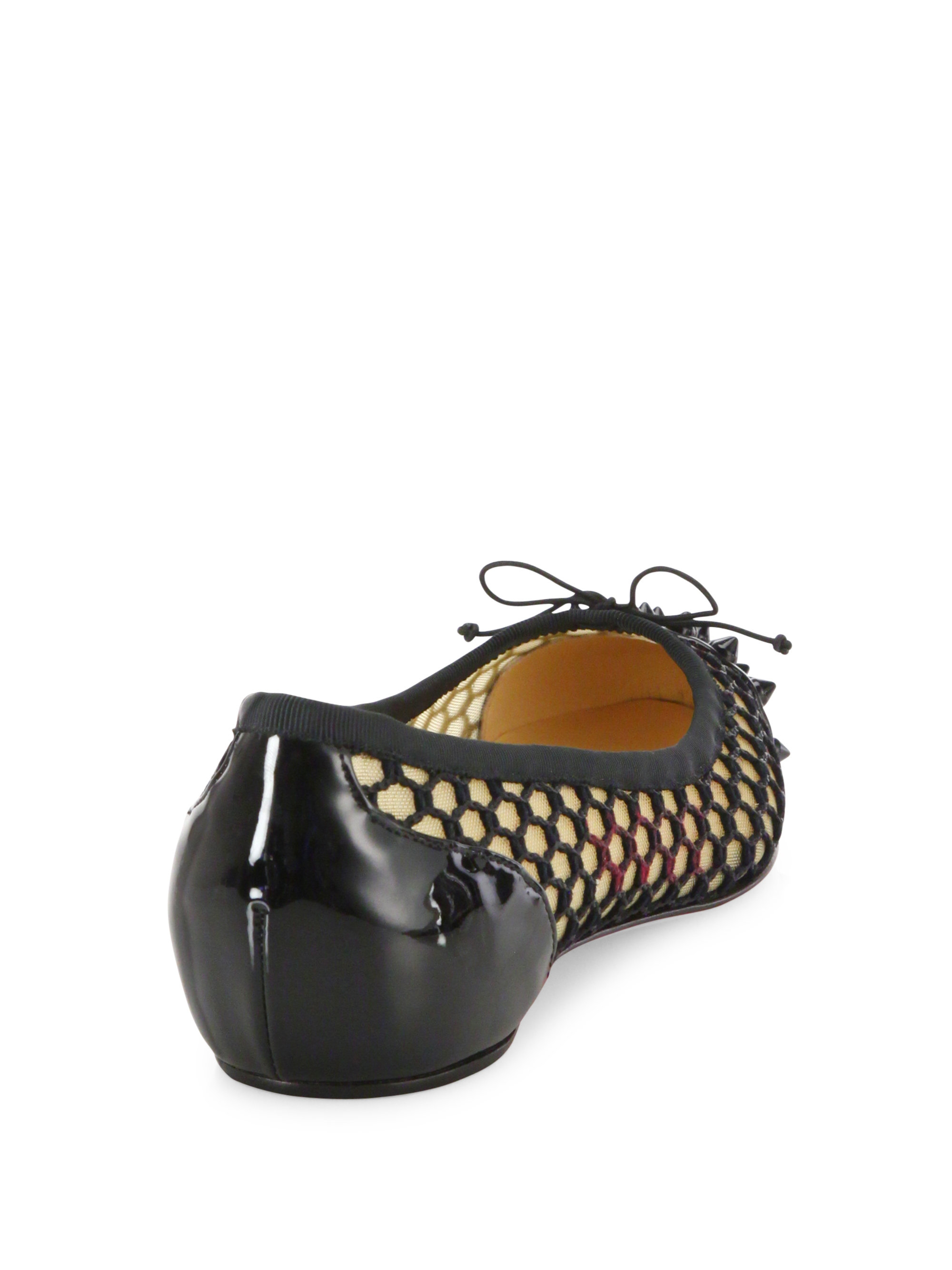 bbd14b874478 Lyst - Christian Louboutin Mix Spiked Patent Leather   Mesh Flats in Black