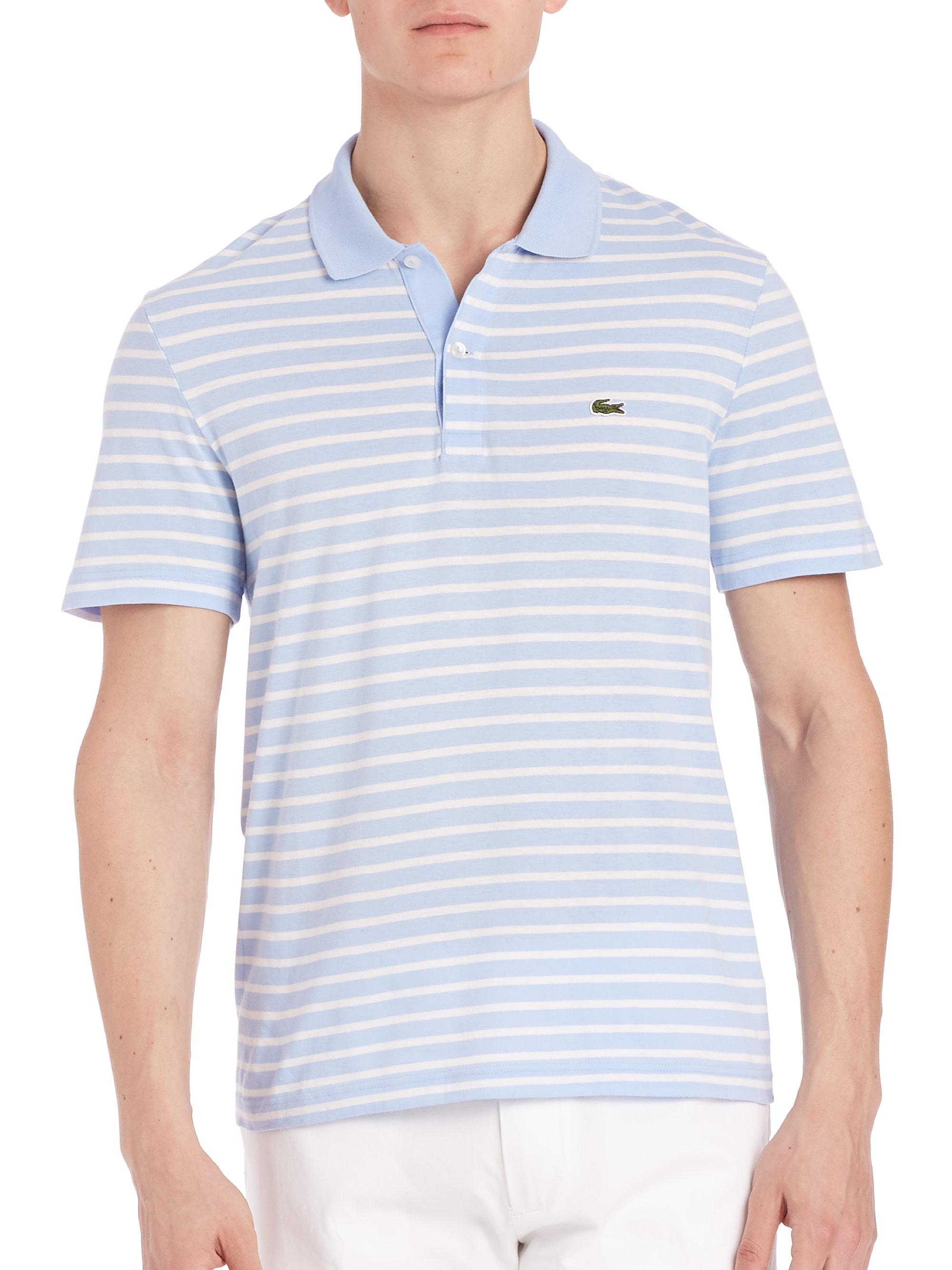 Lacoste horizontal stripe polo in green for men nattier for Horizontal striped dress shirts men