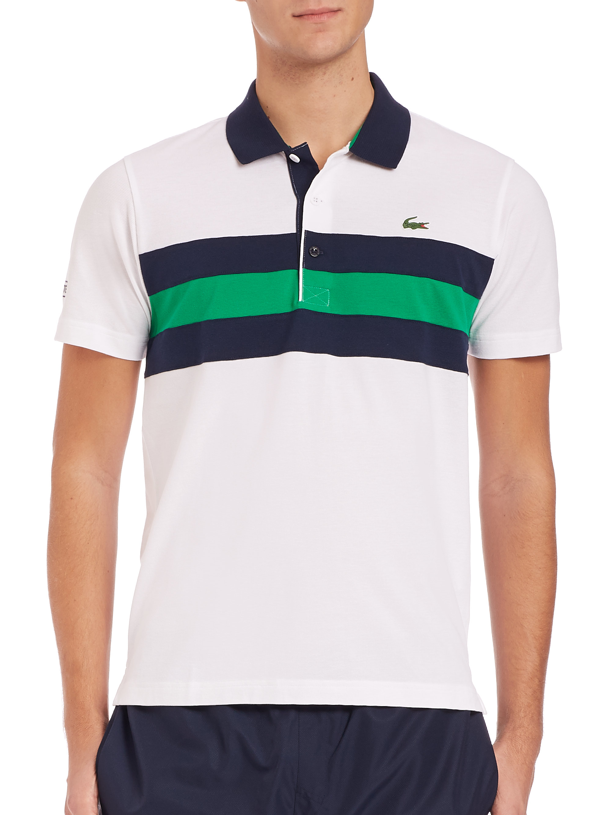 8cb3586eb3 Lacoste Horizontal Stripe Sport Polo in White for Men - Lyst
