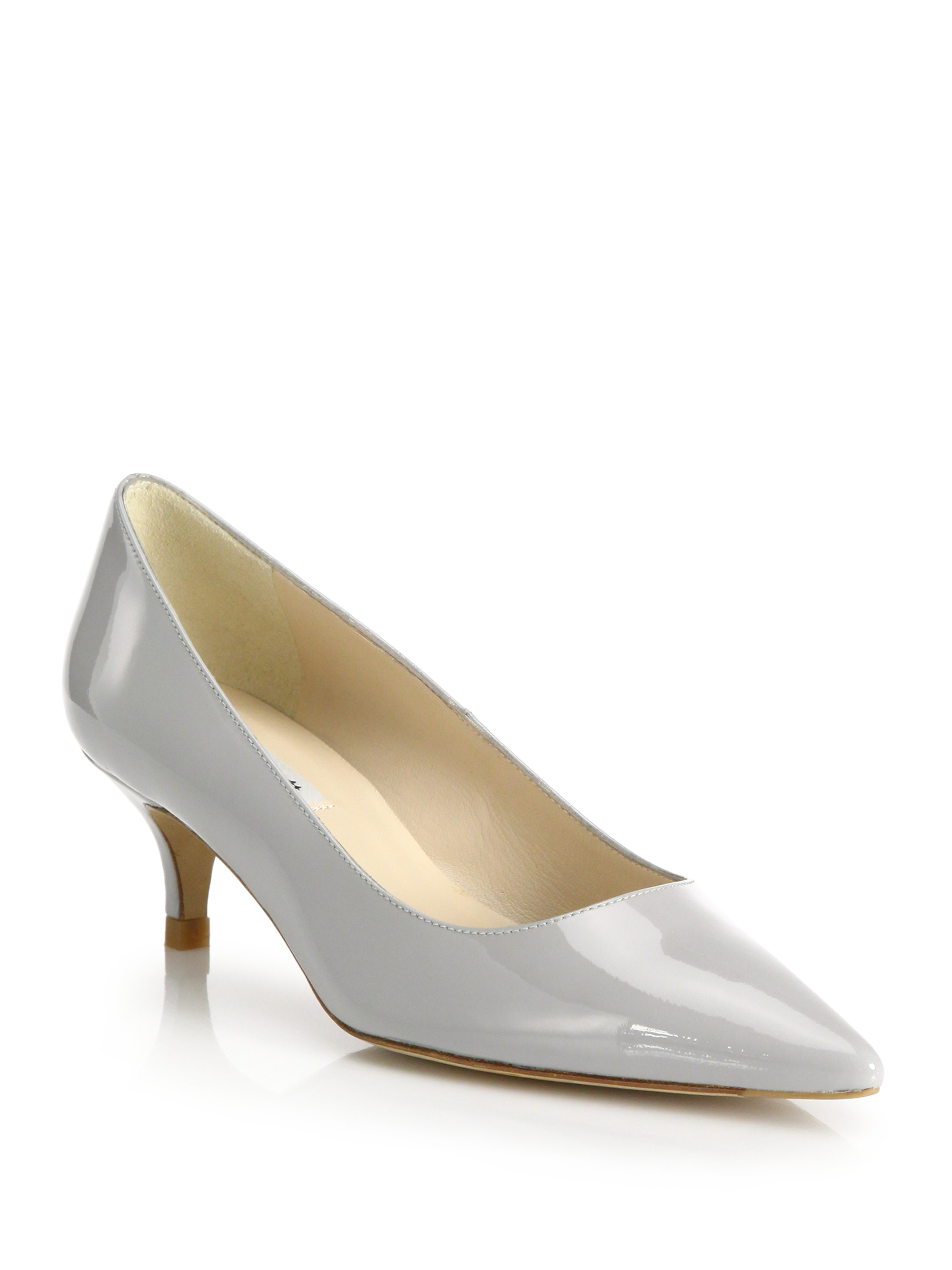 L.k.bennett Minu Patent Leather Kitten-heel Pumps in Gray | Lyst