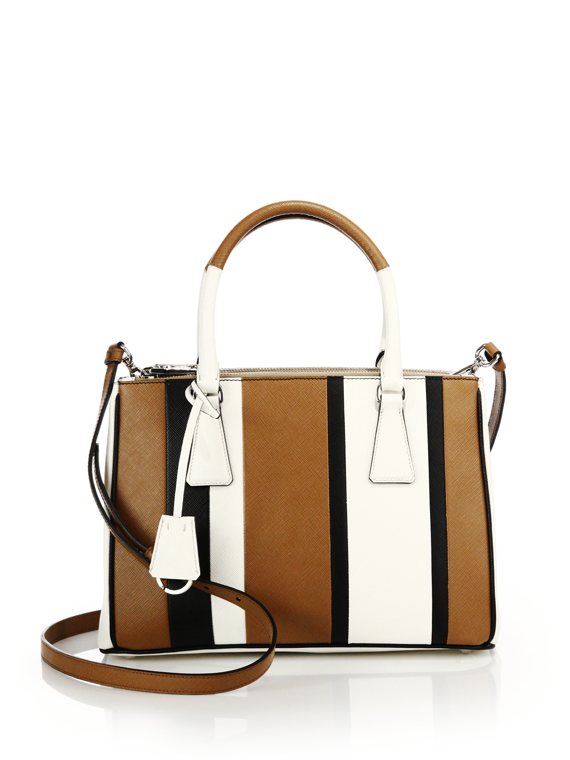 3ca78959f07f ... uk lyst prada saffiano lux small baiadera double zip tote in brown  2c127 eedef