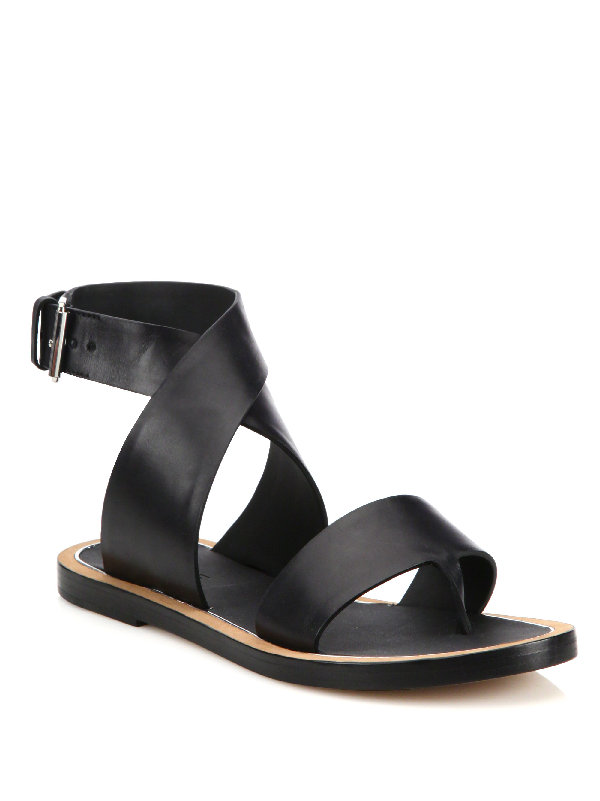 Lyst Vince Mailin Leather Flat Sandals In Black