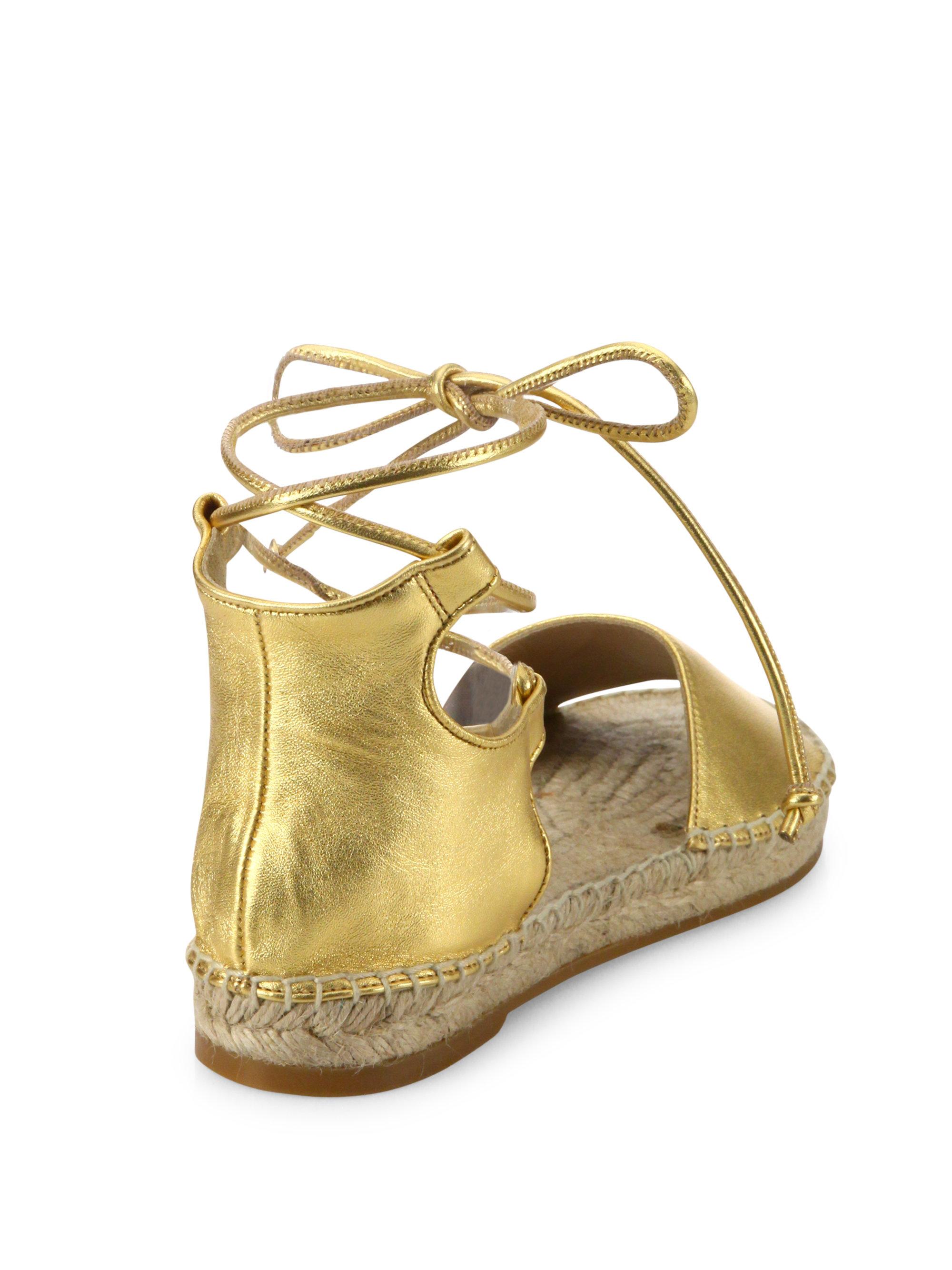 fa71dd2e139 Lyst - Diane von Furstenberg Dakota Metallic Leather Gladiator Espadrille  Sandals in Metallic
