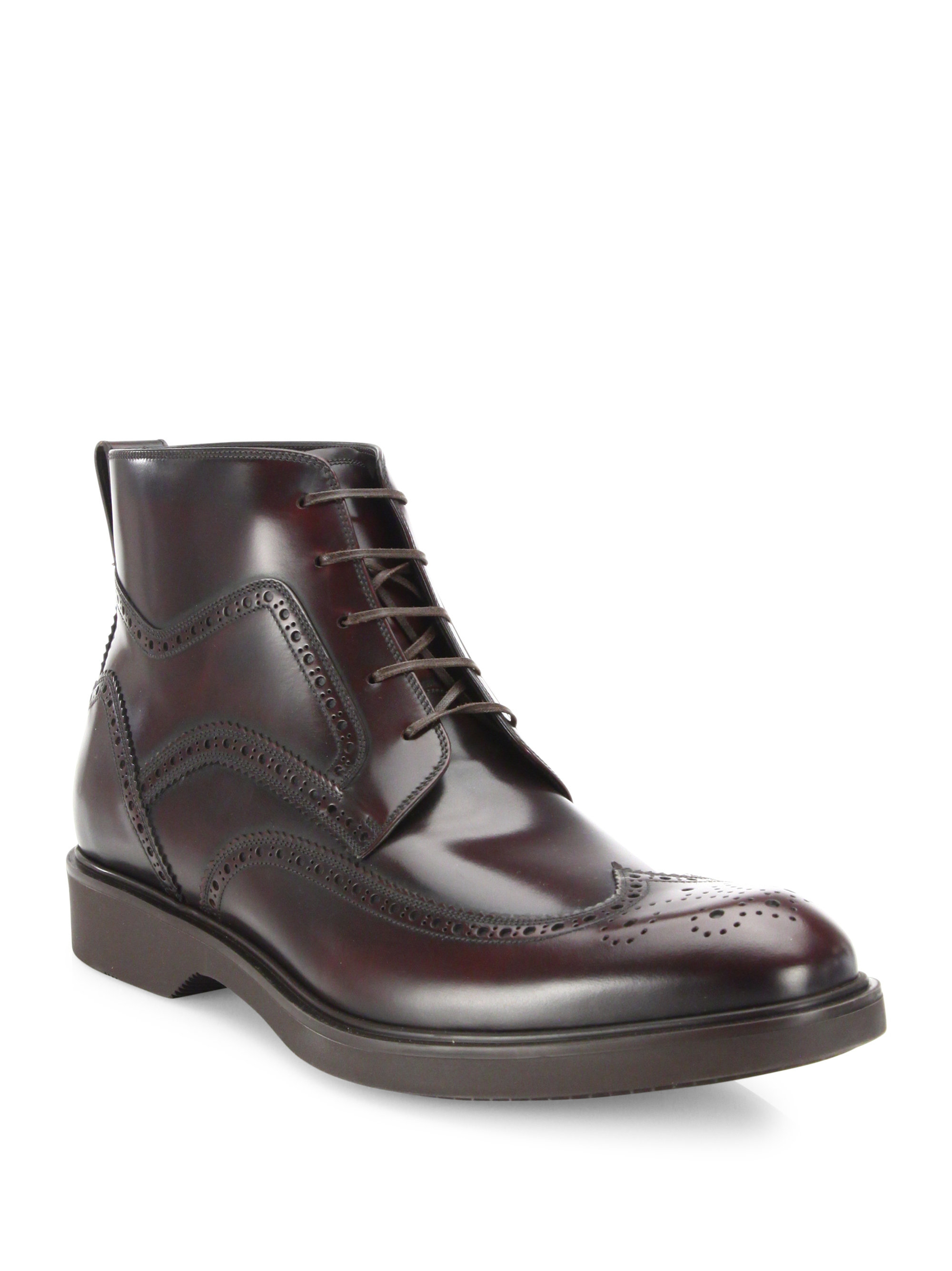 ferragamo gaiano calfskin wingtip ankle boots in brown for
