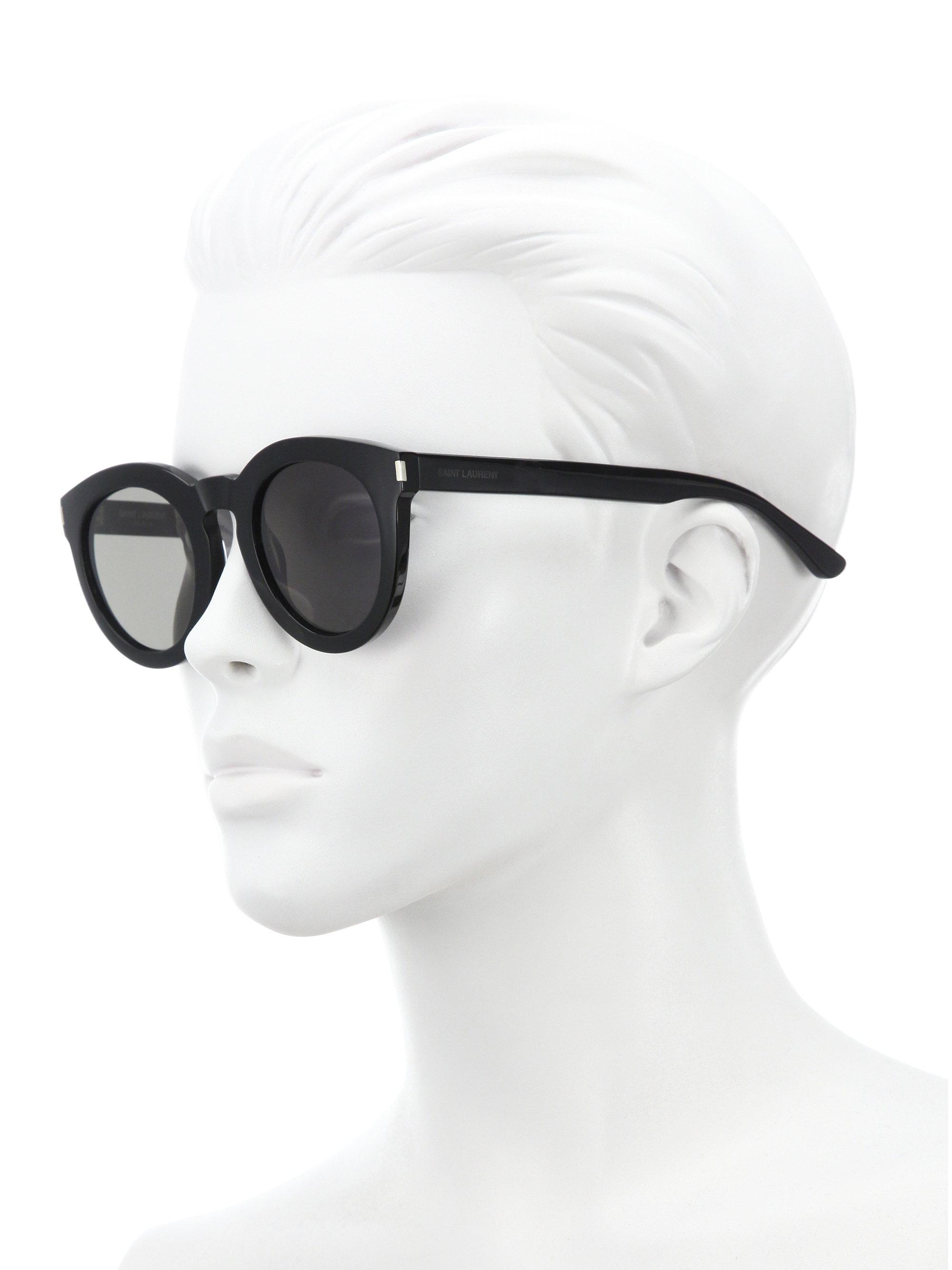 Saint Laurent Sl 102 47mm Round Sunglasses In Black Lyst