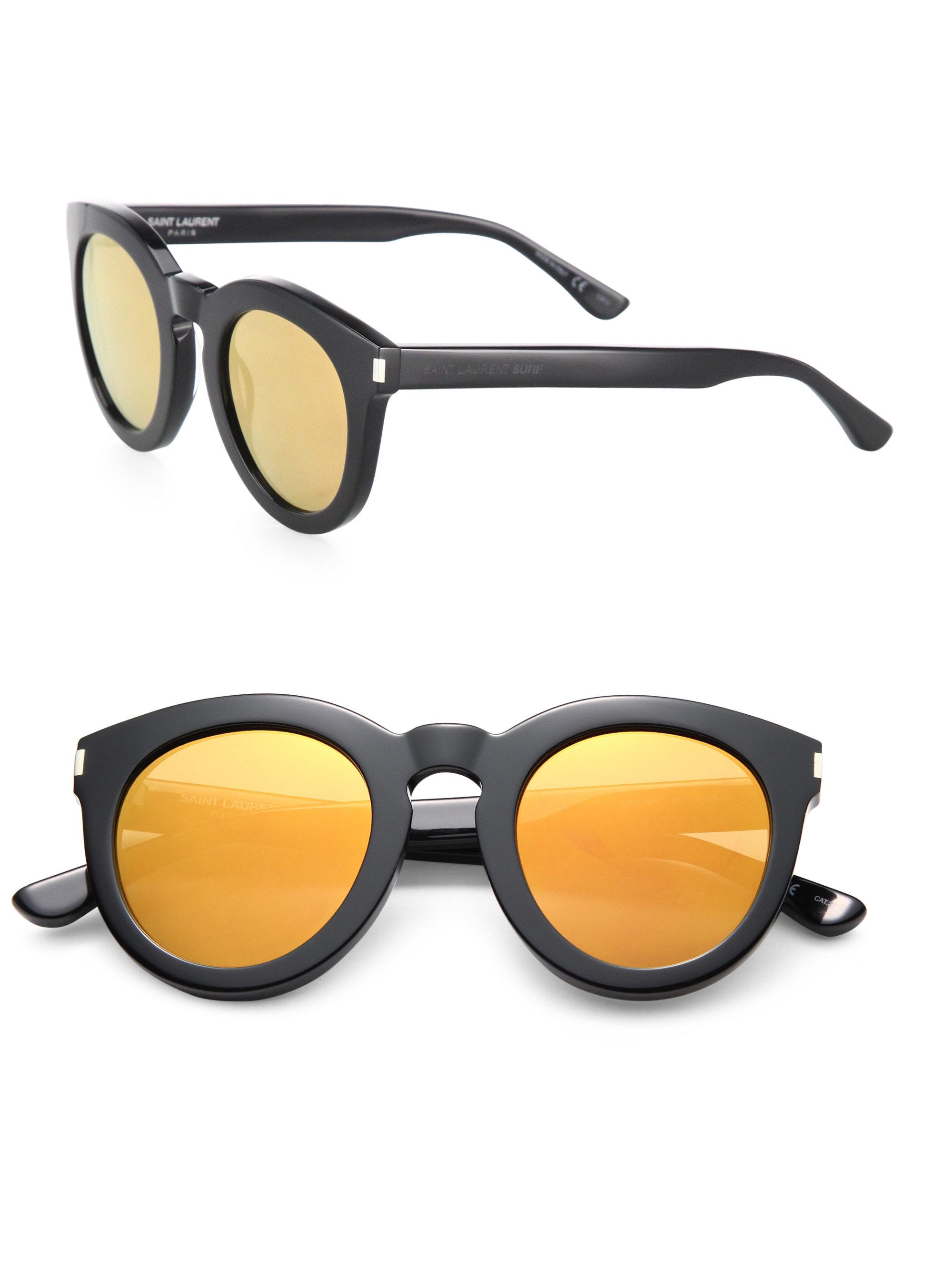 8e1e9bd1fe27 Saint Laurent Surf 47mm Round Sunglasses in Yellow - Lyst
