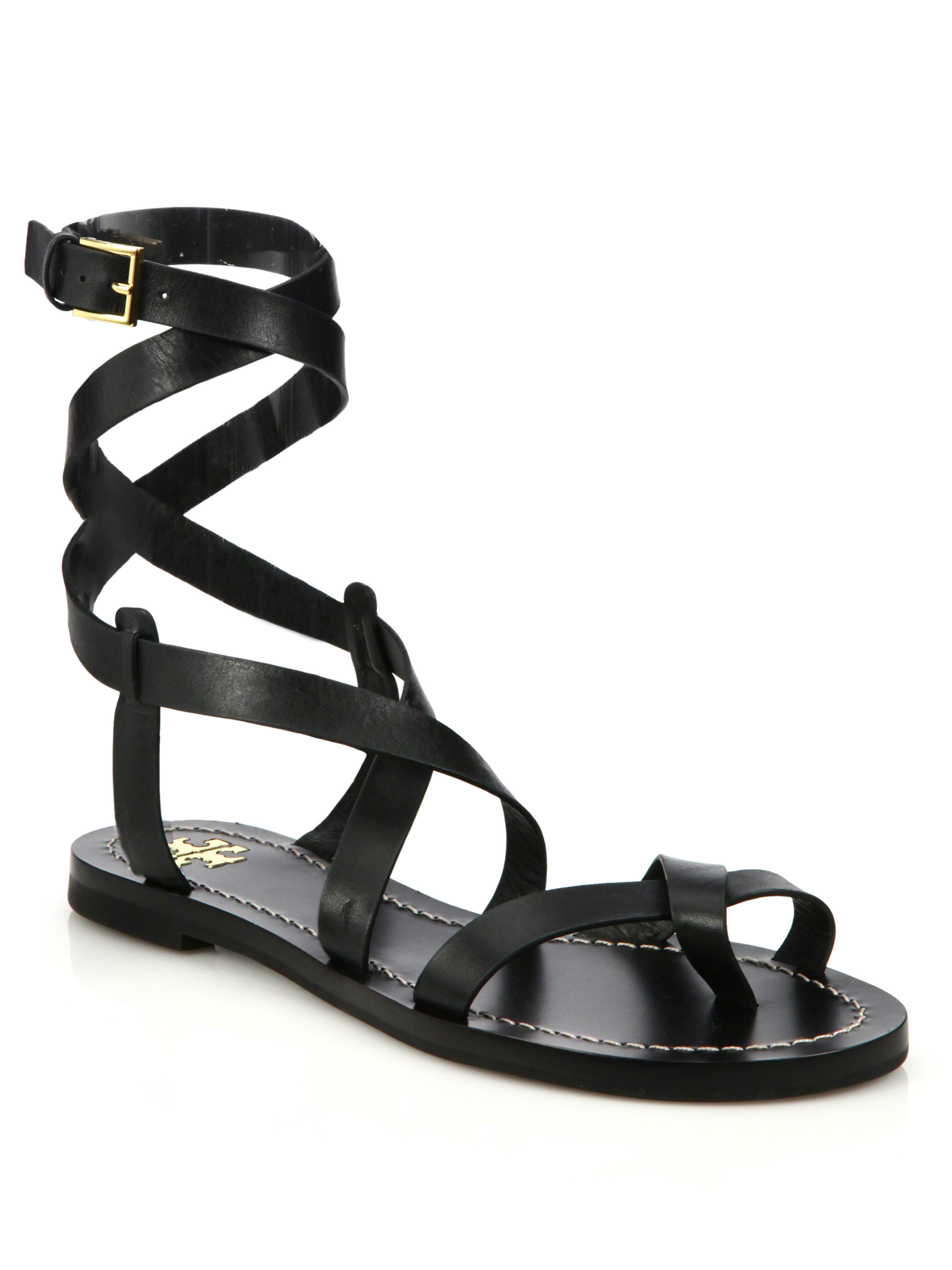 8fa648b401c5 Lyst - Tory Burch Patos Crisscross Leather Sandal in Black