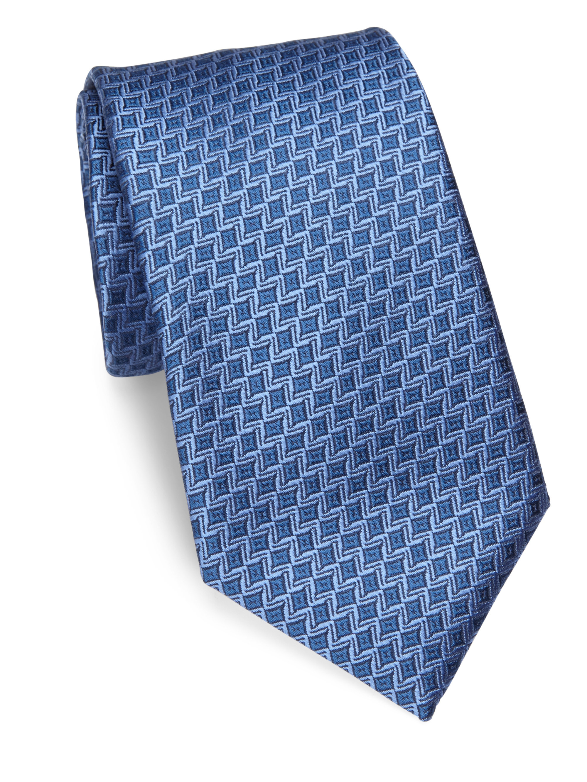 charvet small pattern silk tie in blue for lyst