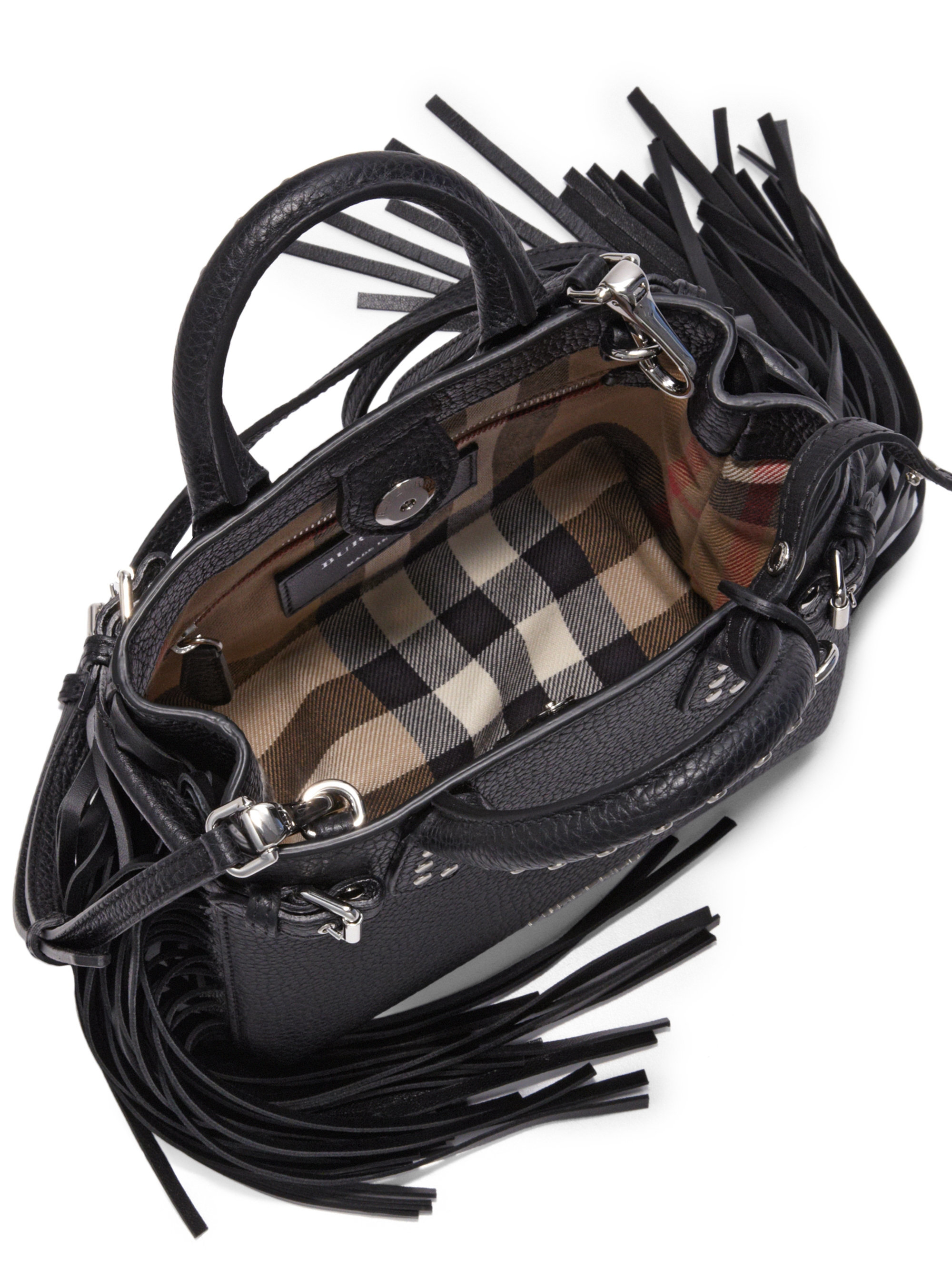 4799a0b1a0ab Lyst - Burberry Baby Banner Fringe Leather Satchel in Black