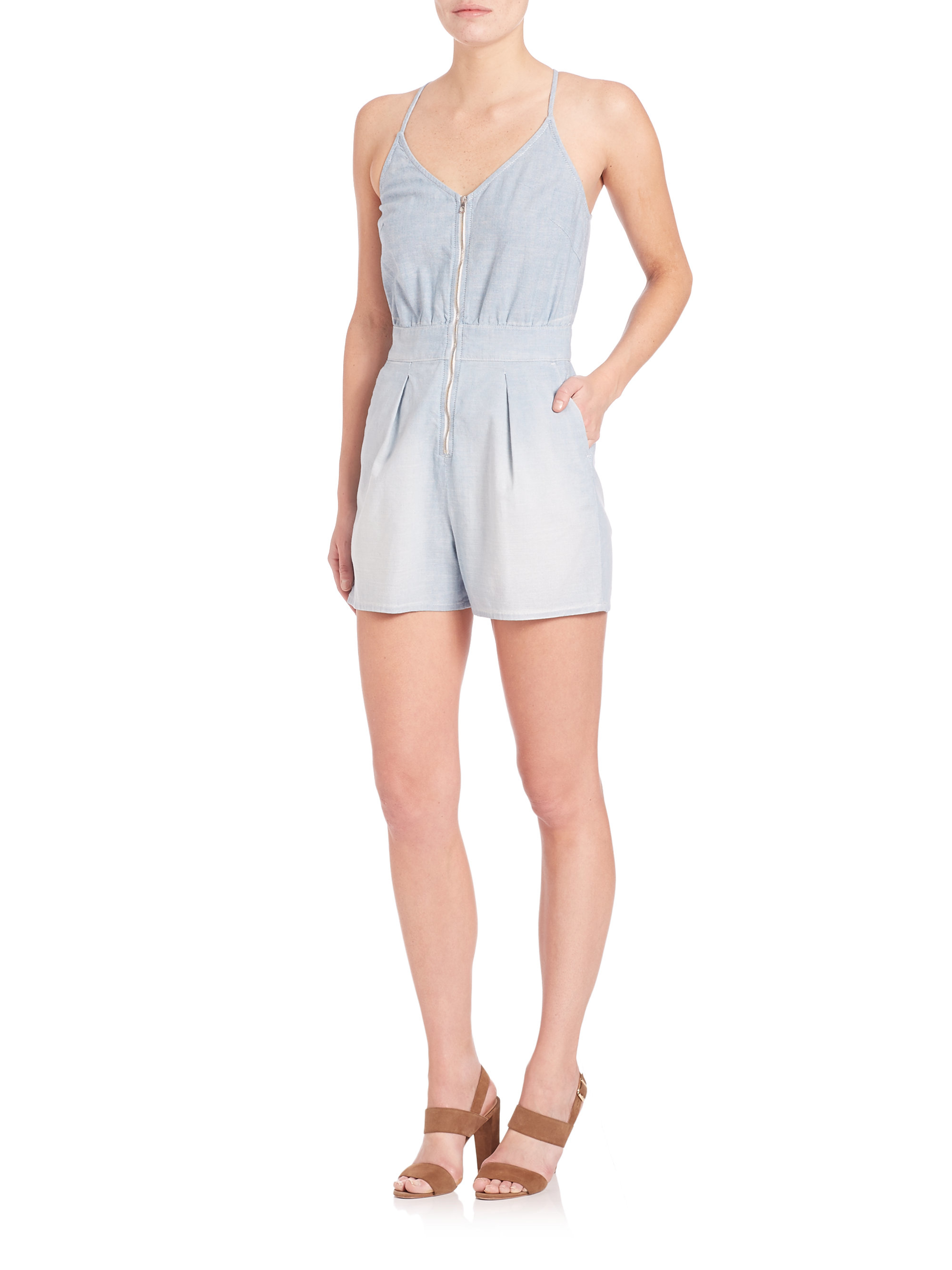 7 for all mankind chambray front zip short romper in blue for Chambray 7 s